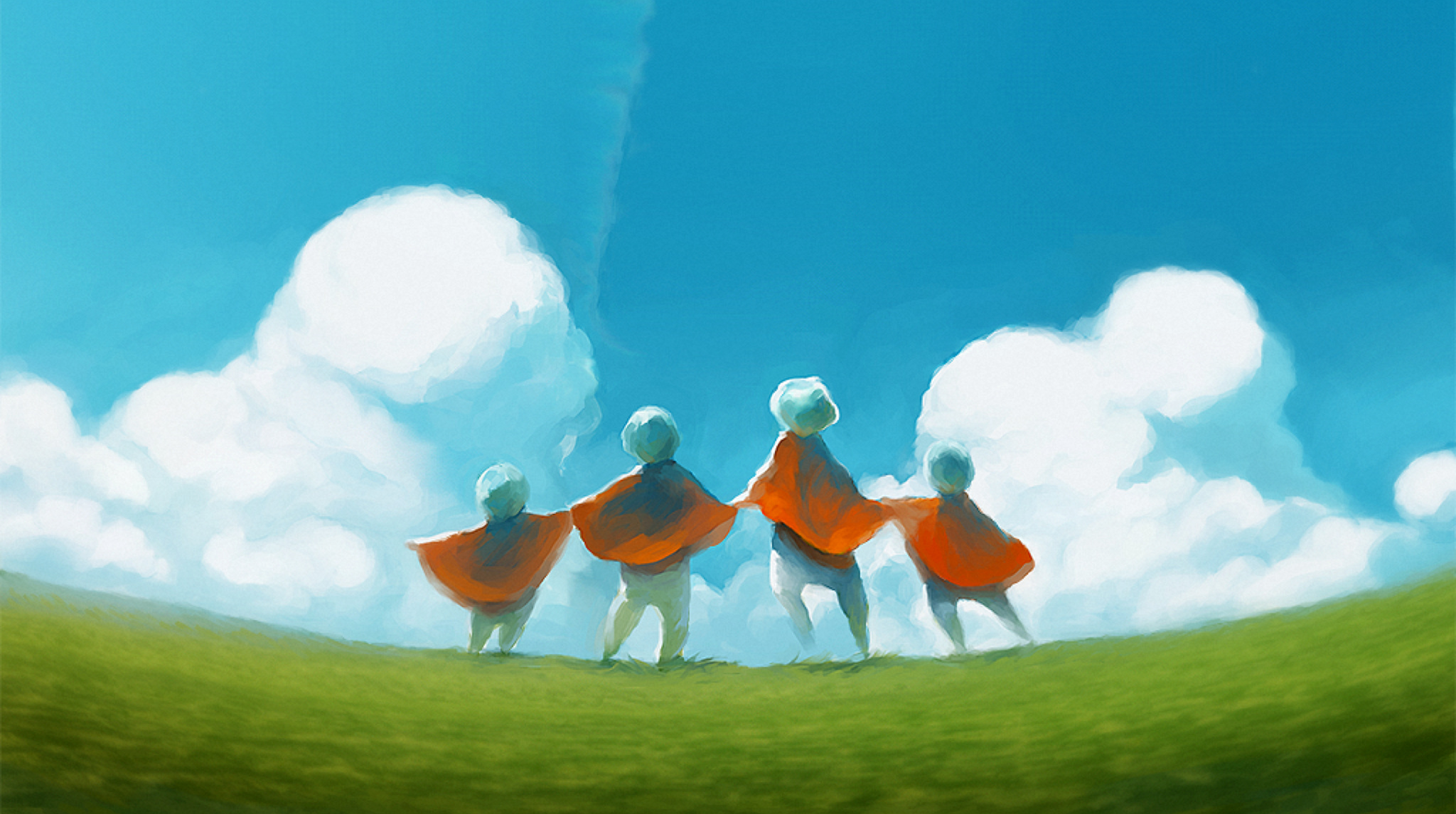 Children of the light stand, hand in hand, amidst an ethereal landscape.