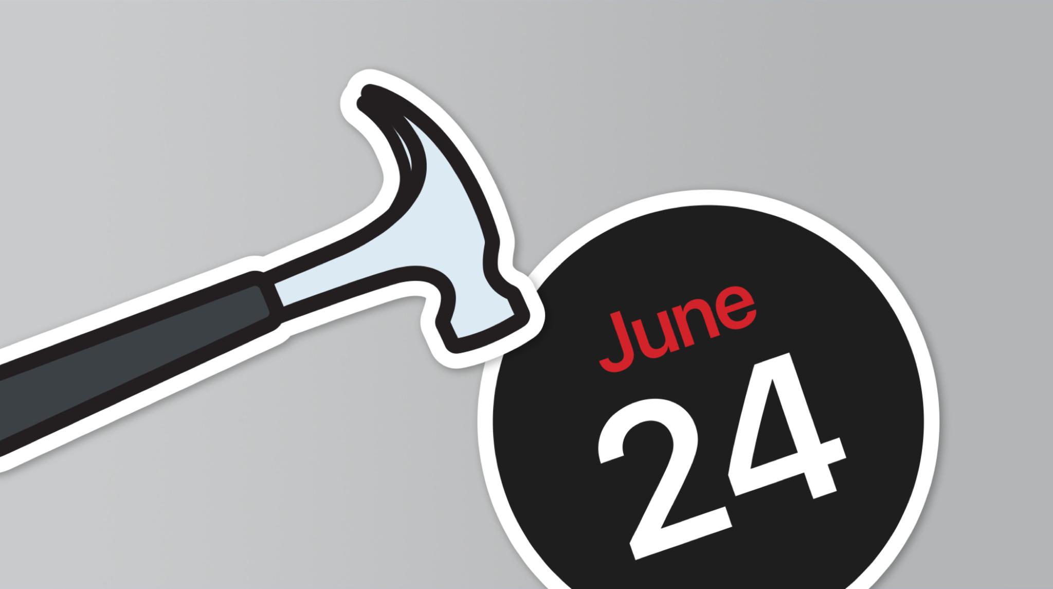 MacBook with June 24 sticker and Xcode hammer sticker