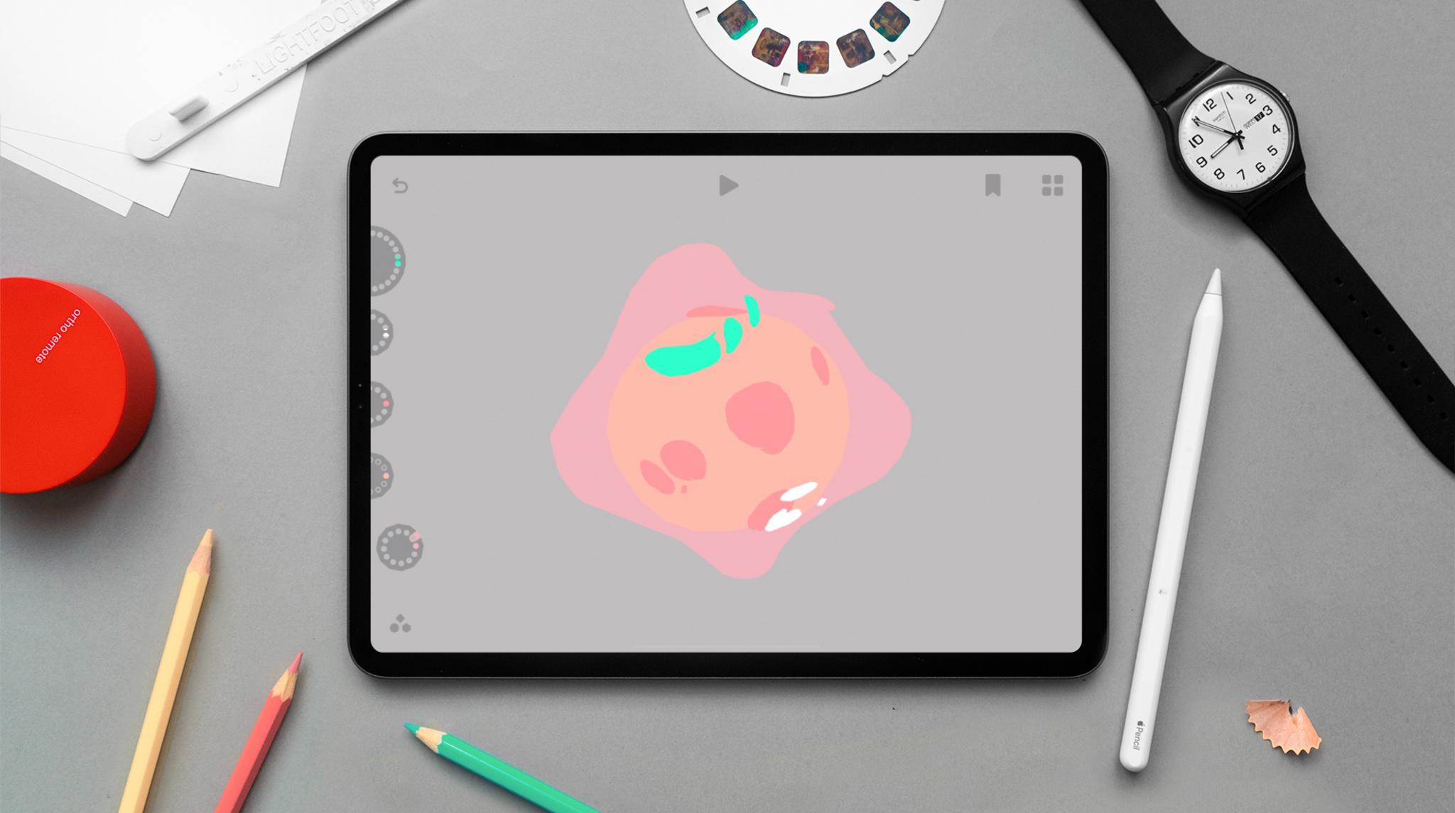 Loom animation on iPad with pencils surrounding it