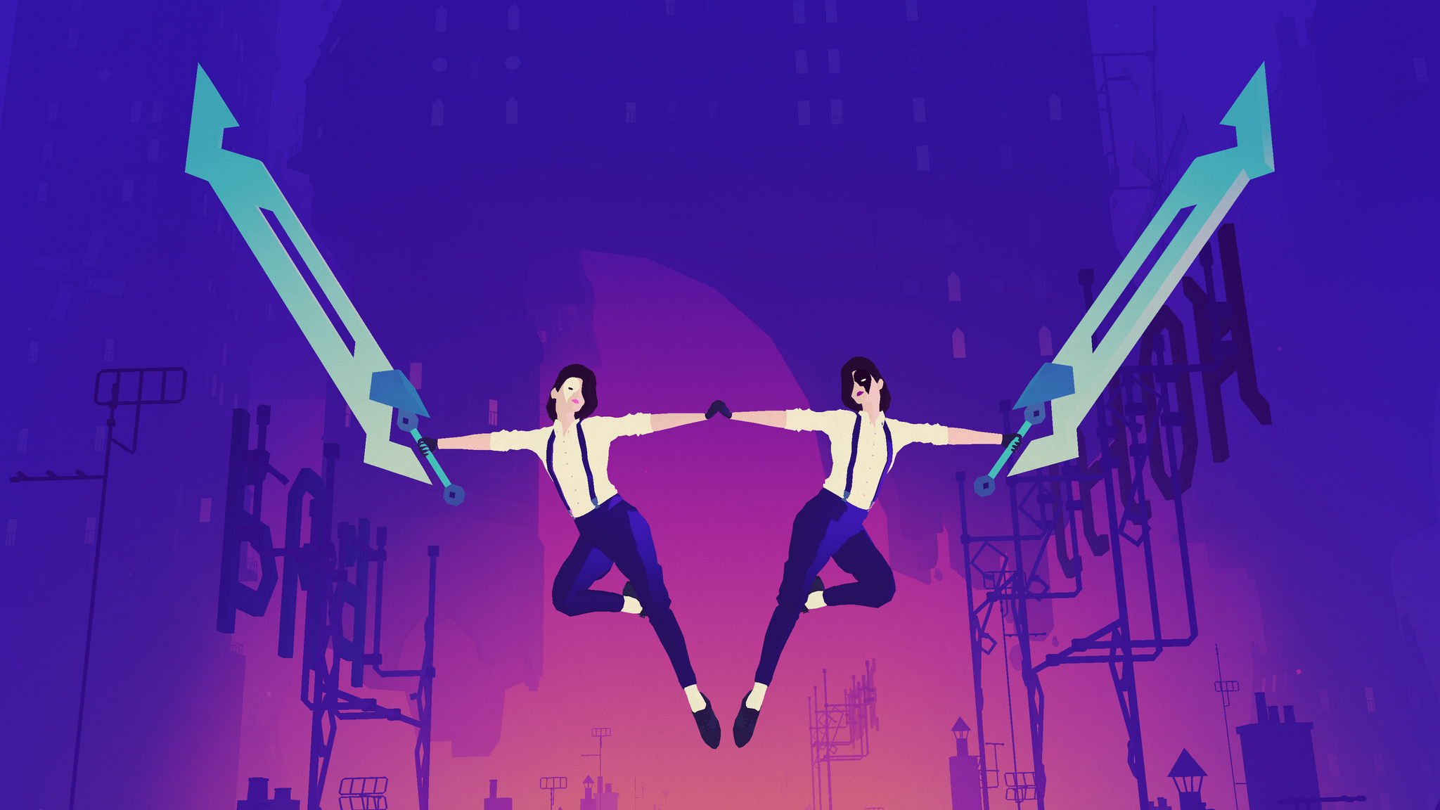 Twins holding swords flying at you in midair