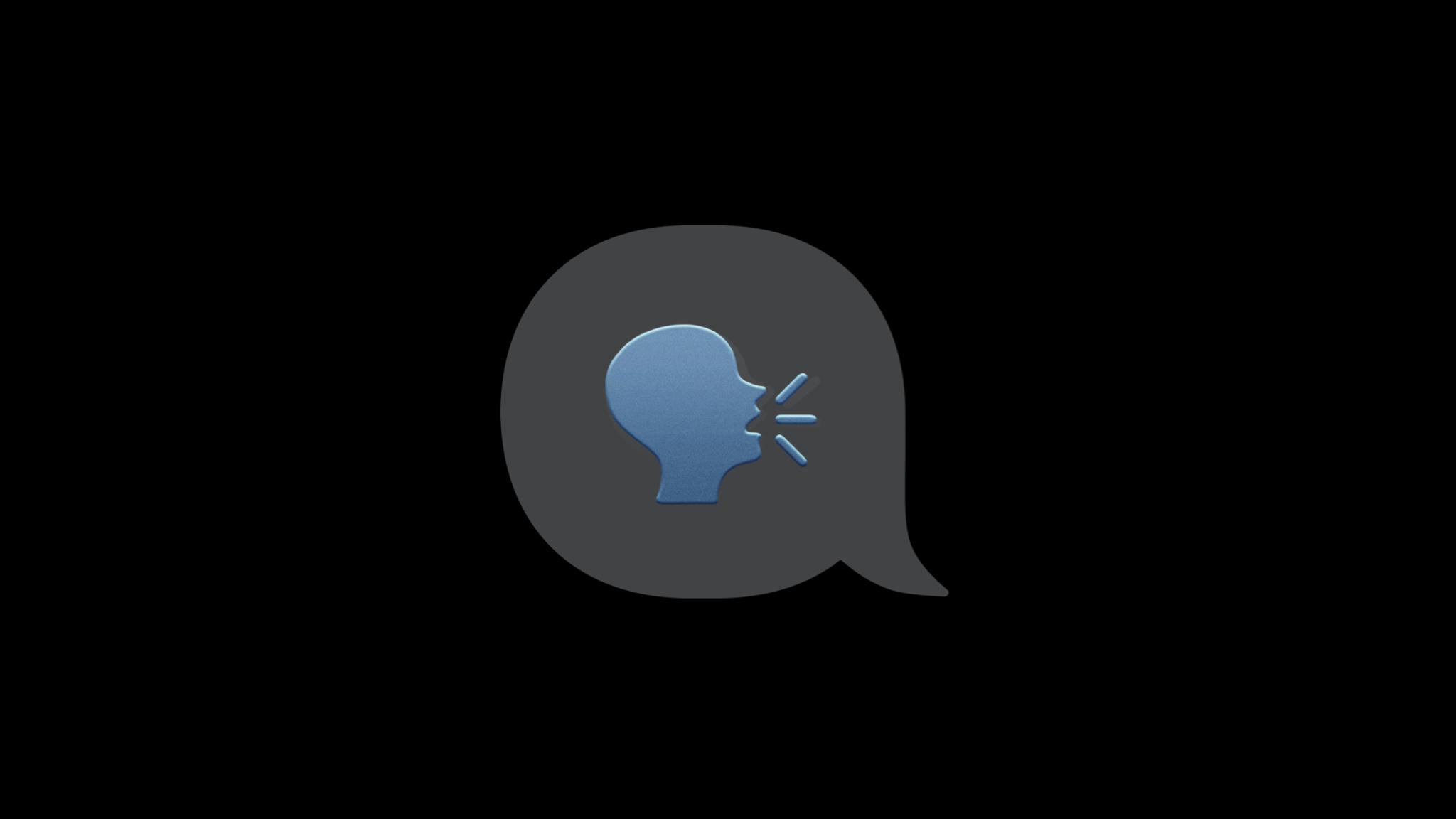 Speaking head silhouette emoji inside of a speech bubble.