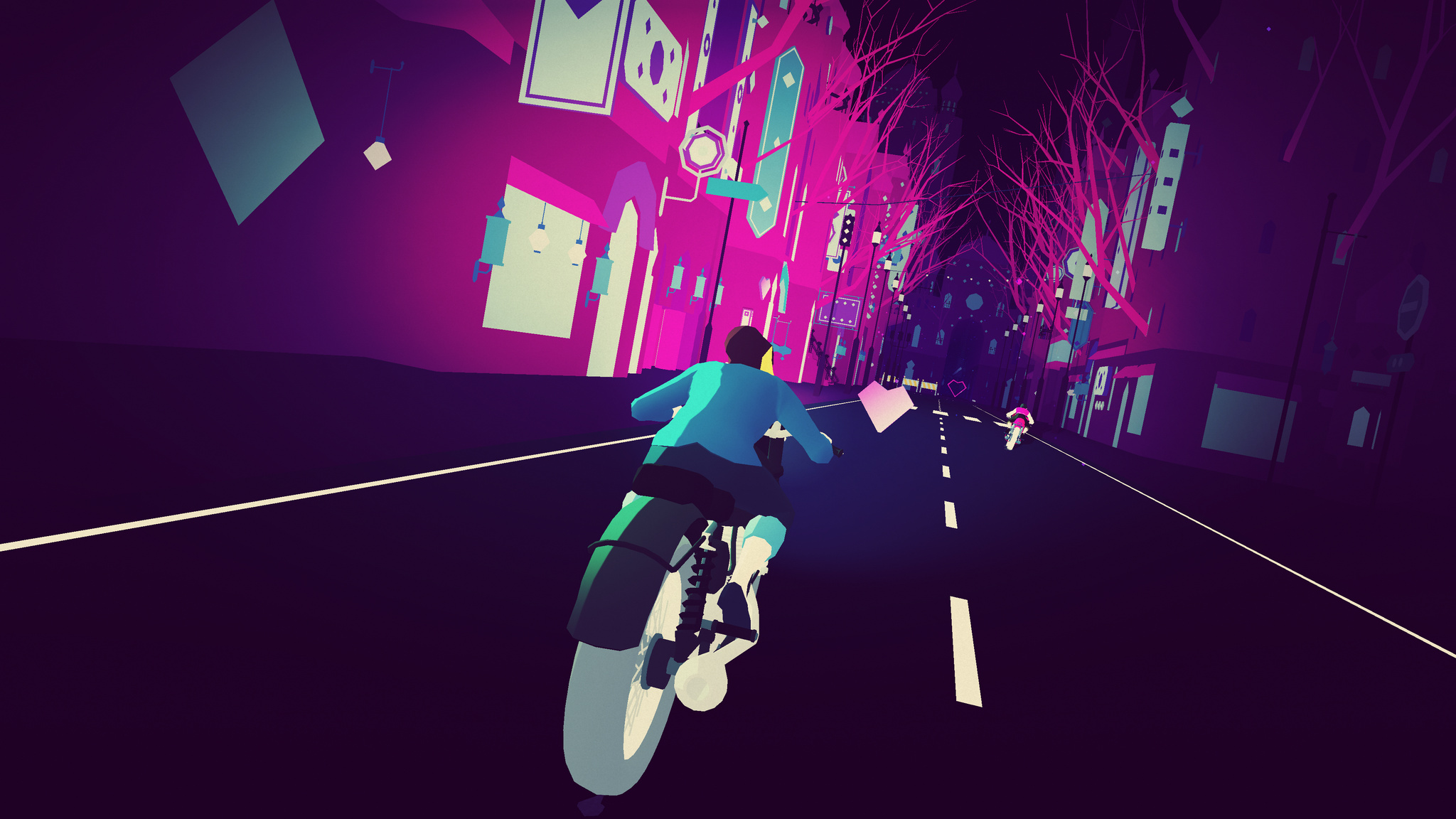 Protagonist rides a motorcycle down the street