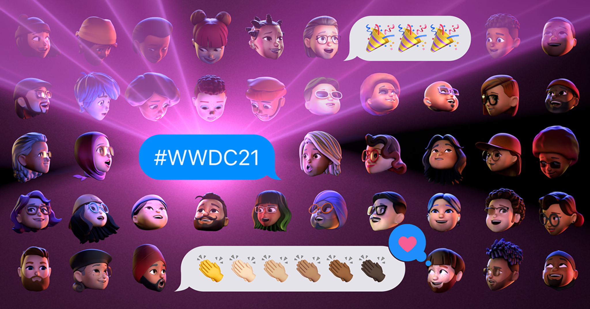 """Five rows of unique memojis gaze in amazement at three iMessage texts. A blue text bubble in the center reads """"#WWDC21"""". A white text bubble above it displays three party popper emojis. A white text bubble below it displays the clapping hands emoji in all six skin tones. This text has been """"loved"""" with a pink heart."""