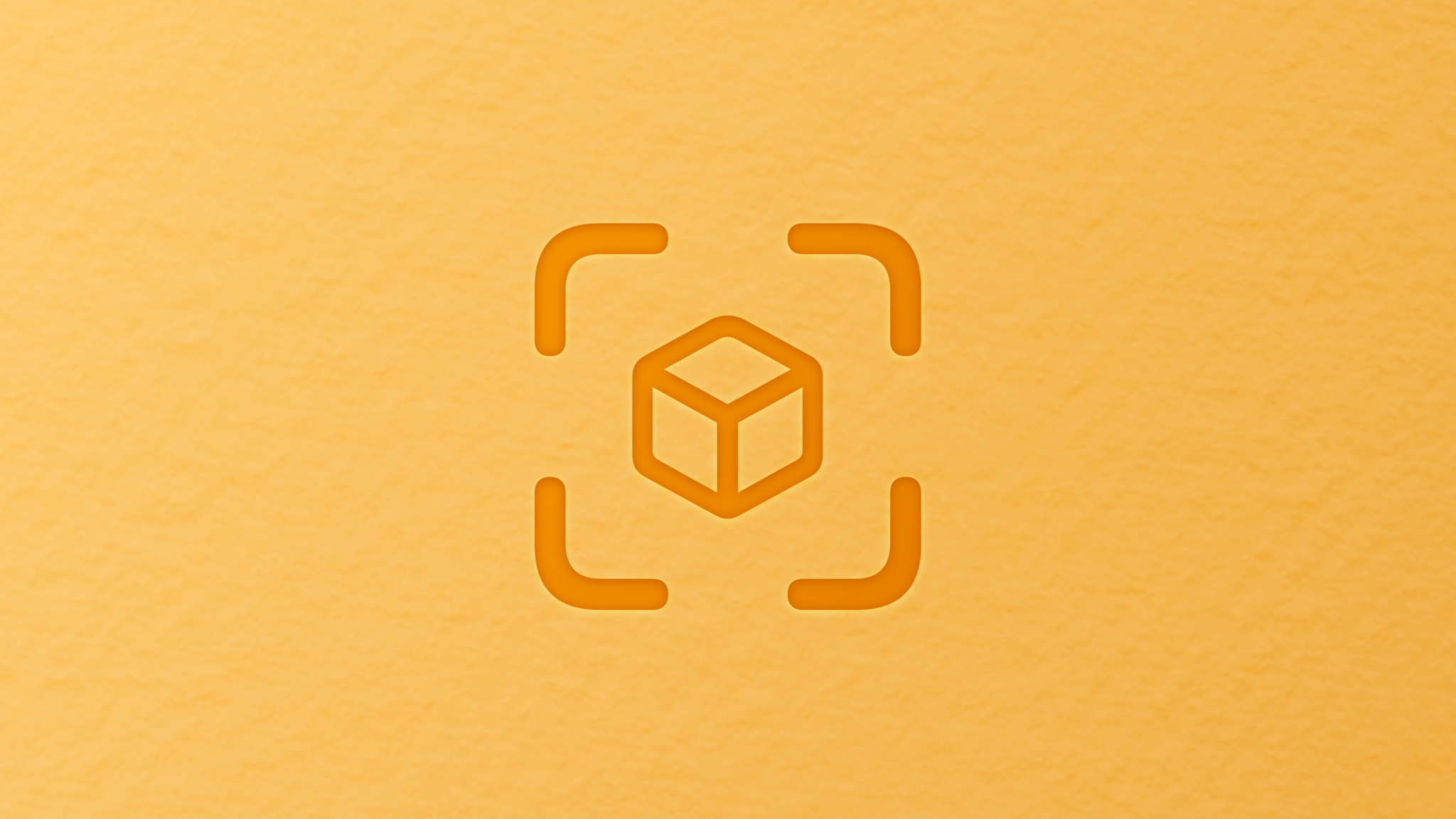 Symbol signifying a camera focusing on an object that looks like a cube