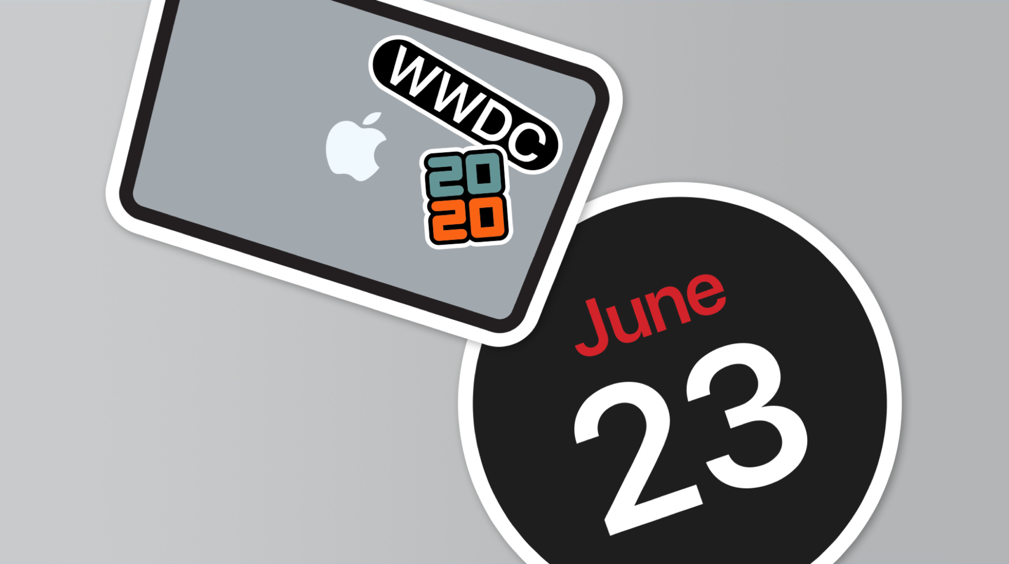 MacBook with June 23 sticker and hello WWDC sticker