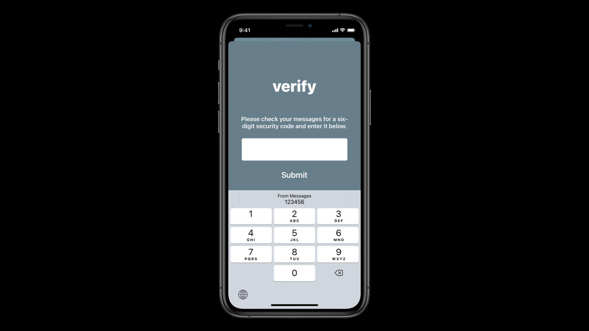 SMS code displaying in Safari QuickType bar