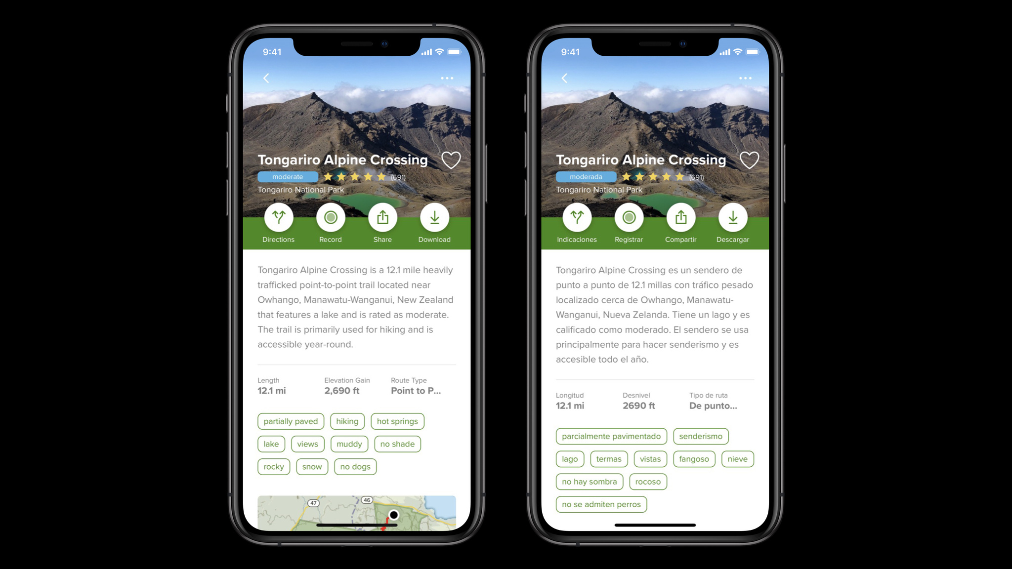 Two screenshots of the AllTrails app main interface, with the screenshot on the right translated into espagnol