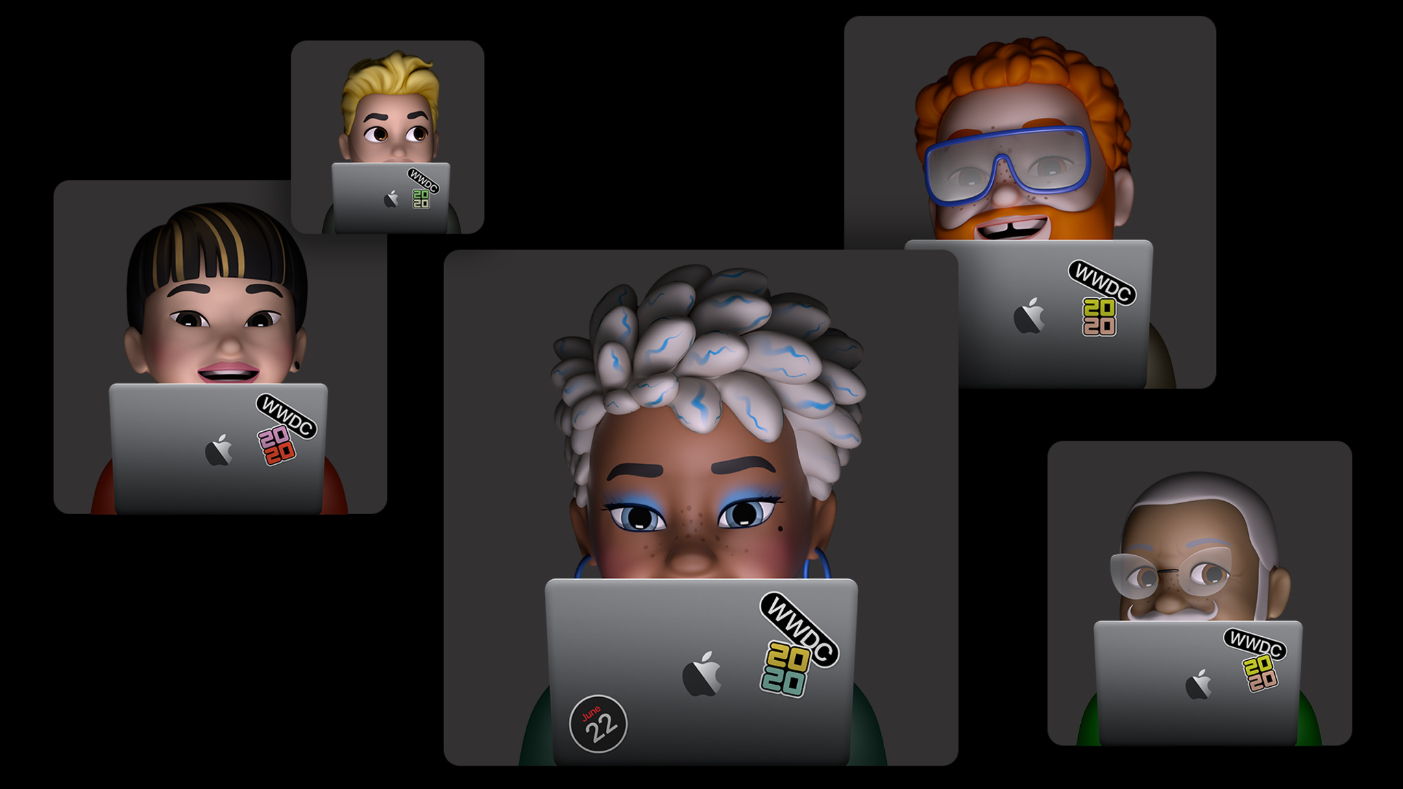Memoji developers sitting behind MacBook Pro