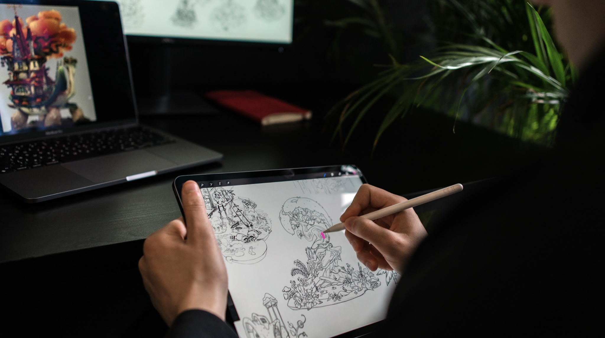 Illustrator sketching a soundscape of Loona