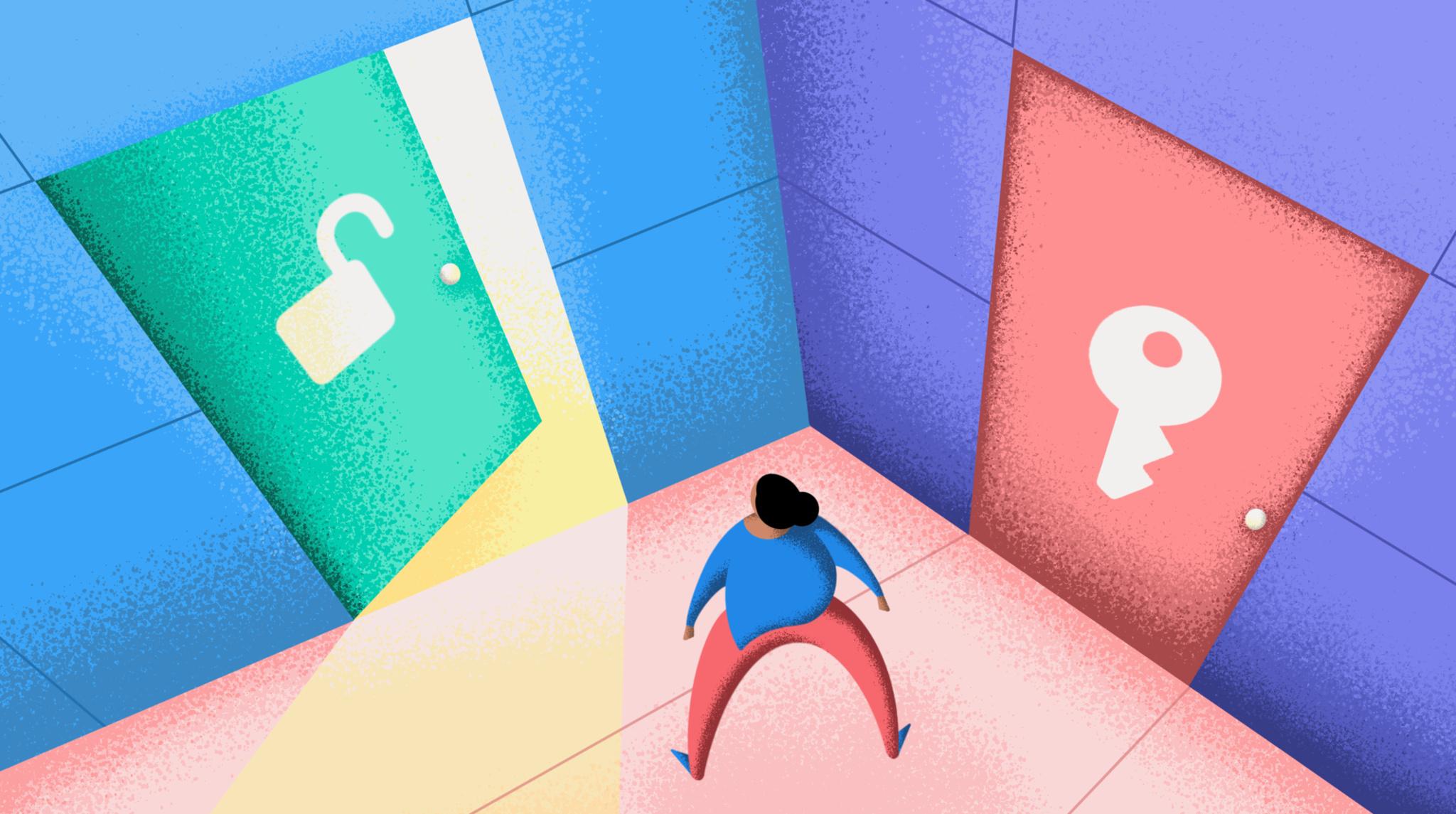 Figure chooses between doors