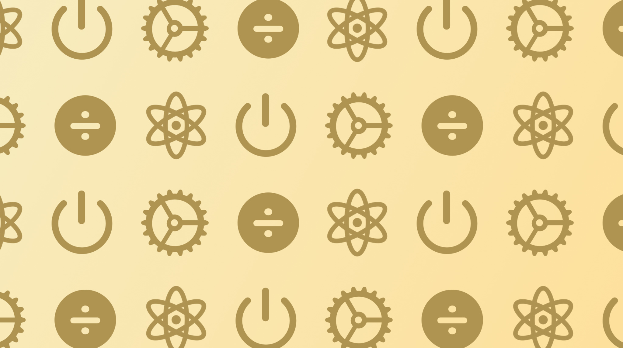 Science, math, gears, power up icons on a yellow background