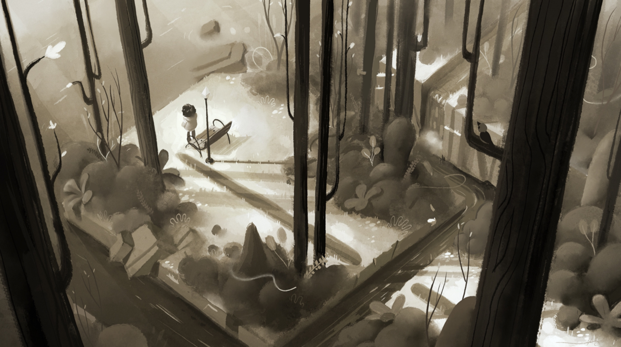 Where cards fall protagonist in black and white forest