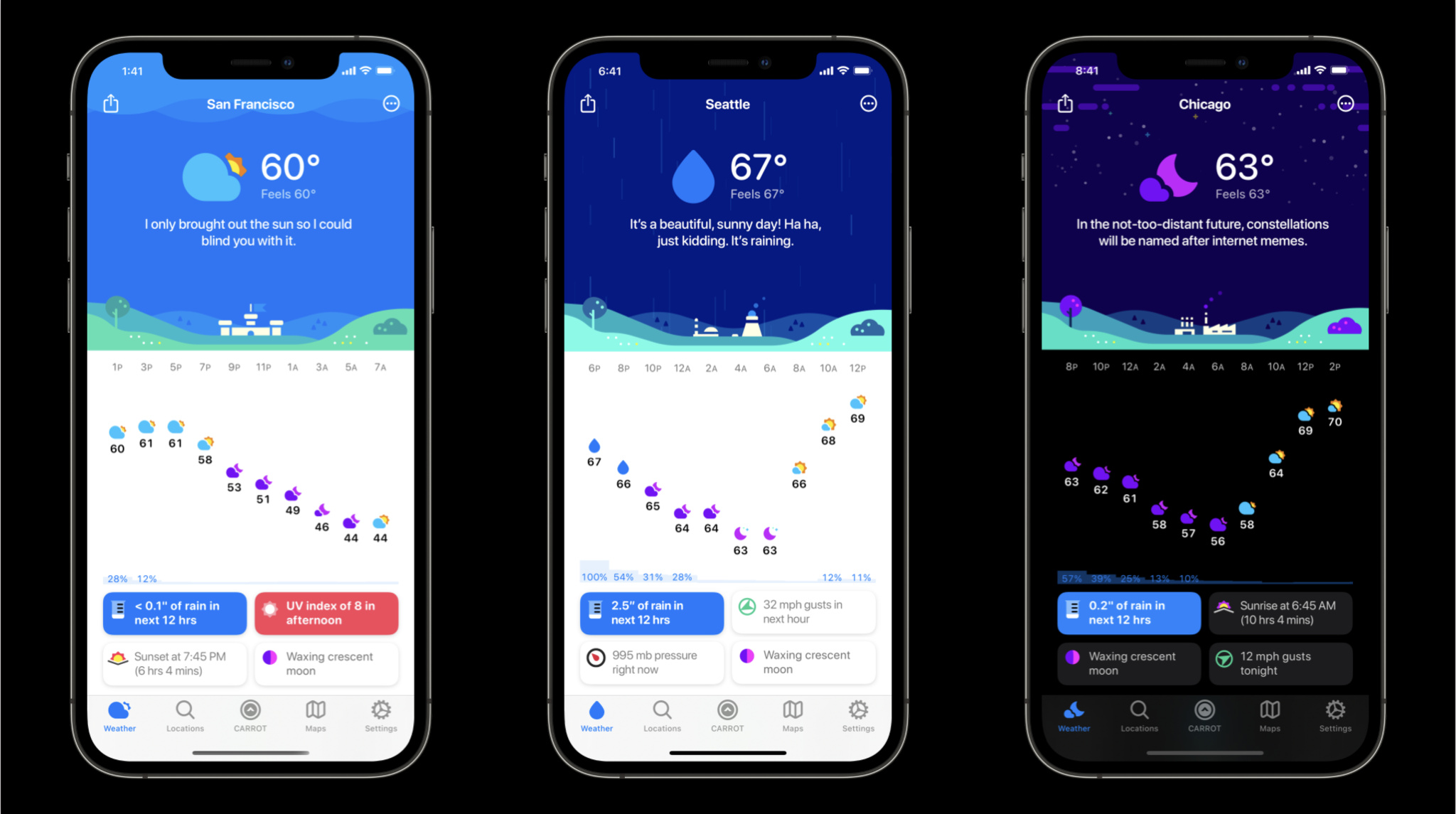 iPhone images of Carrot Weather's light and dark modes