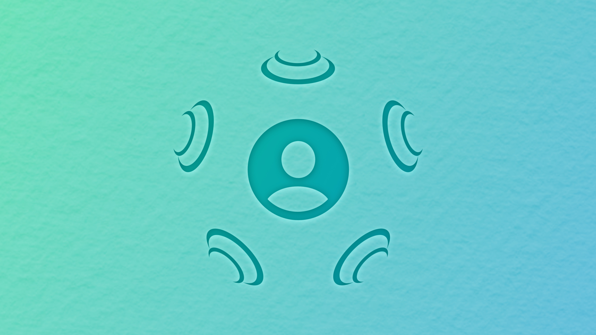 Person SF Symbol surrounded by speaker SF Symbols on a blue-green textured background