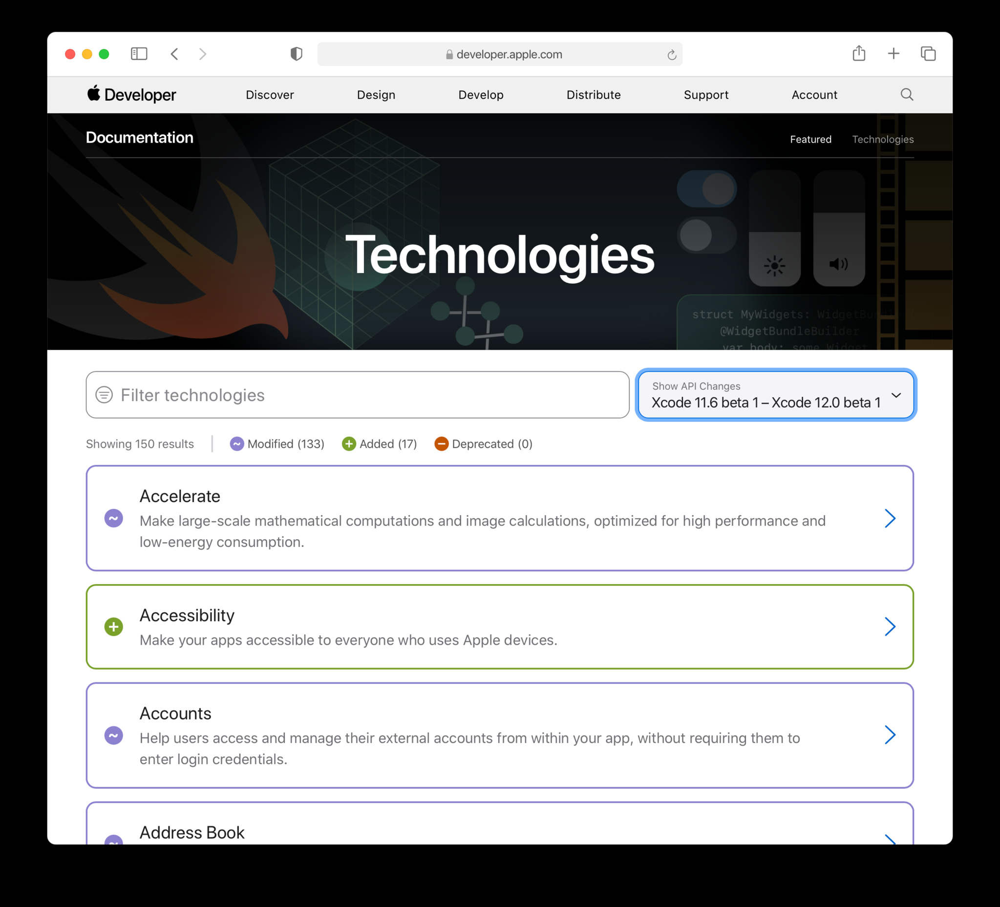 Safari window that displays the technologies page with diff-tracking