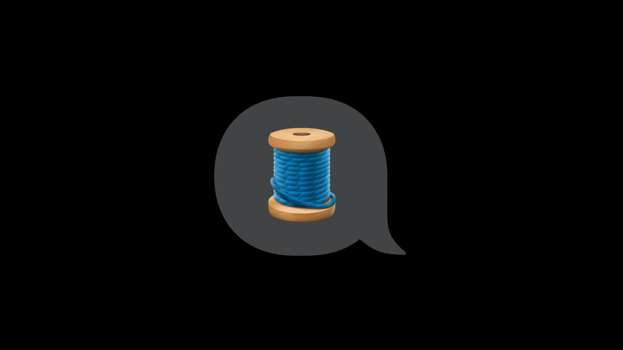 Spool of thread emoji  inside of a speech bubble.