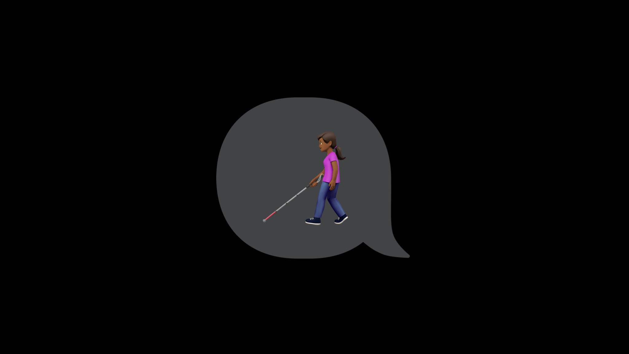 Person with white cane emoji inside of a speech bubble