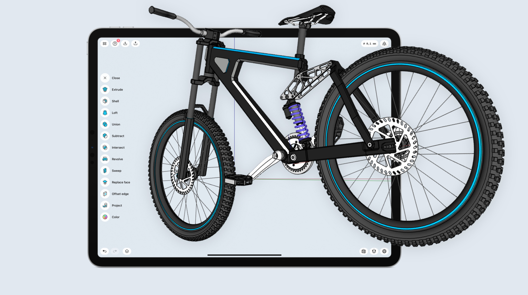 3D modeled bike coming out of Shapr3D on iPad