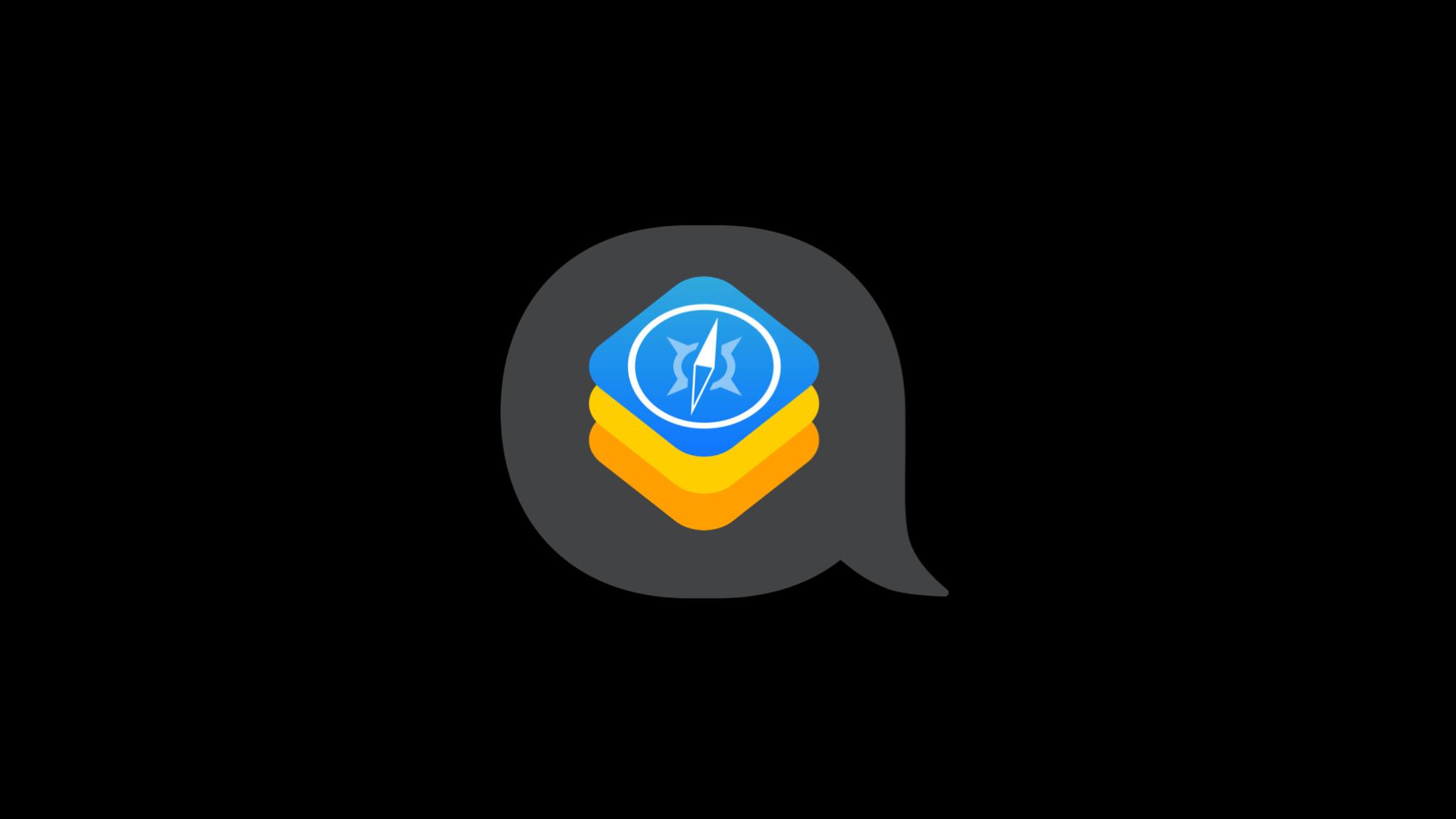 Safaria compass icon  inside of a speech bubble.