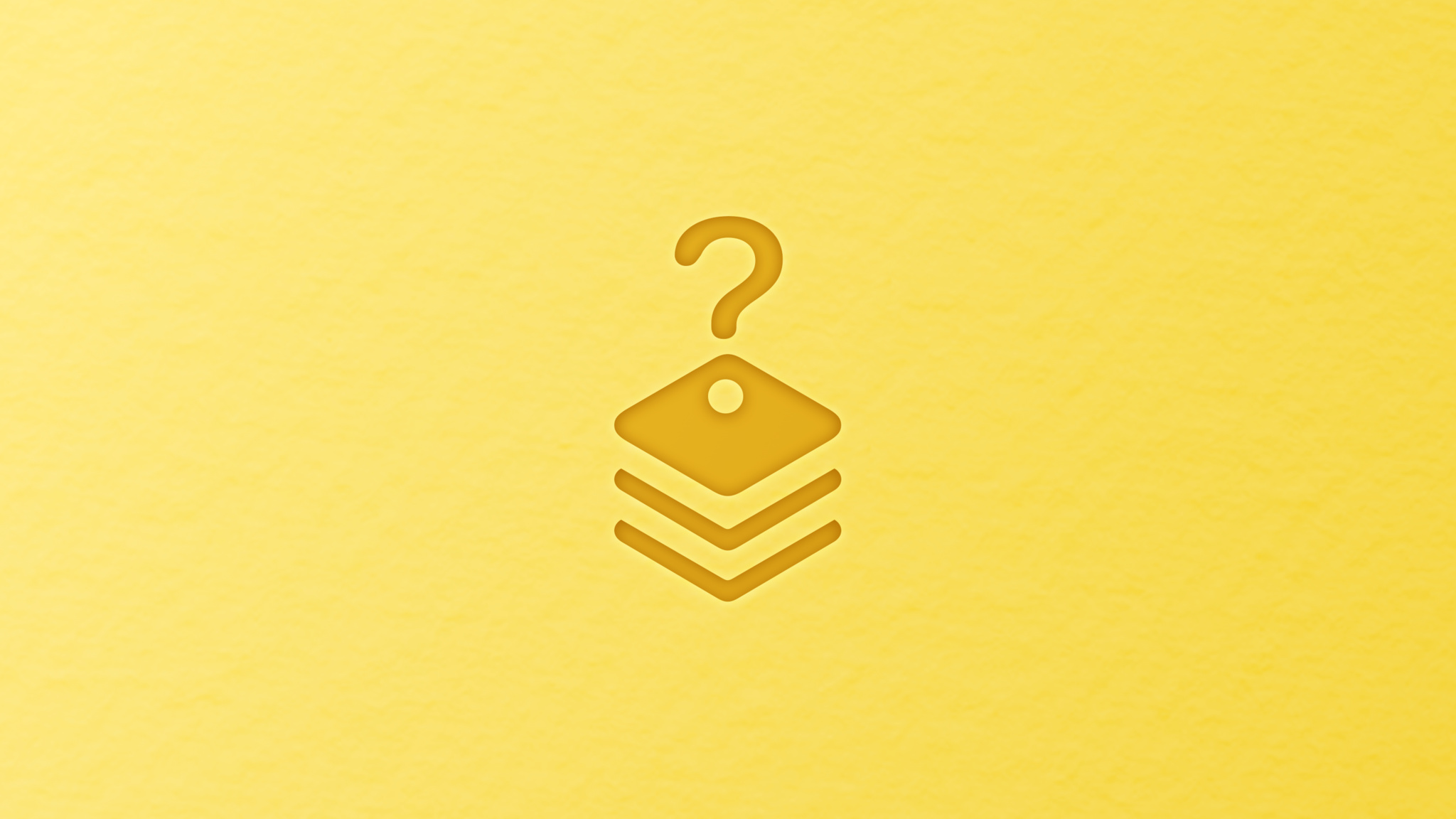 Framework icon with a question mark on top of it on a yellow background