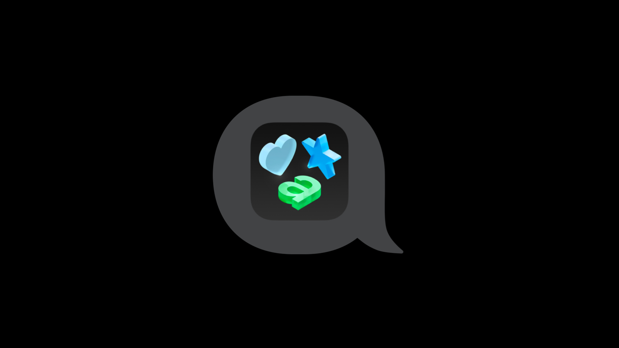 """A heart and start symbol, and a lowercase """"a"""" displayed on an app icon inside of a speech bubble."""
