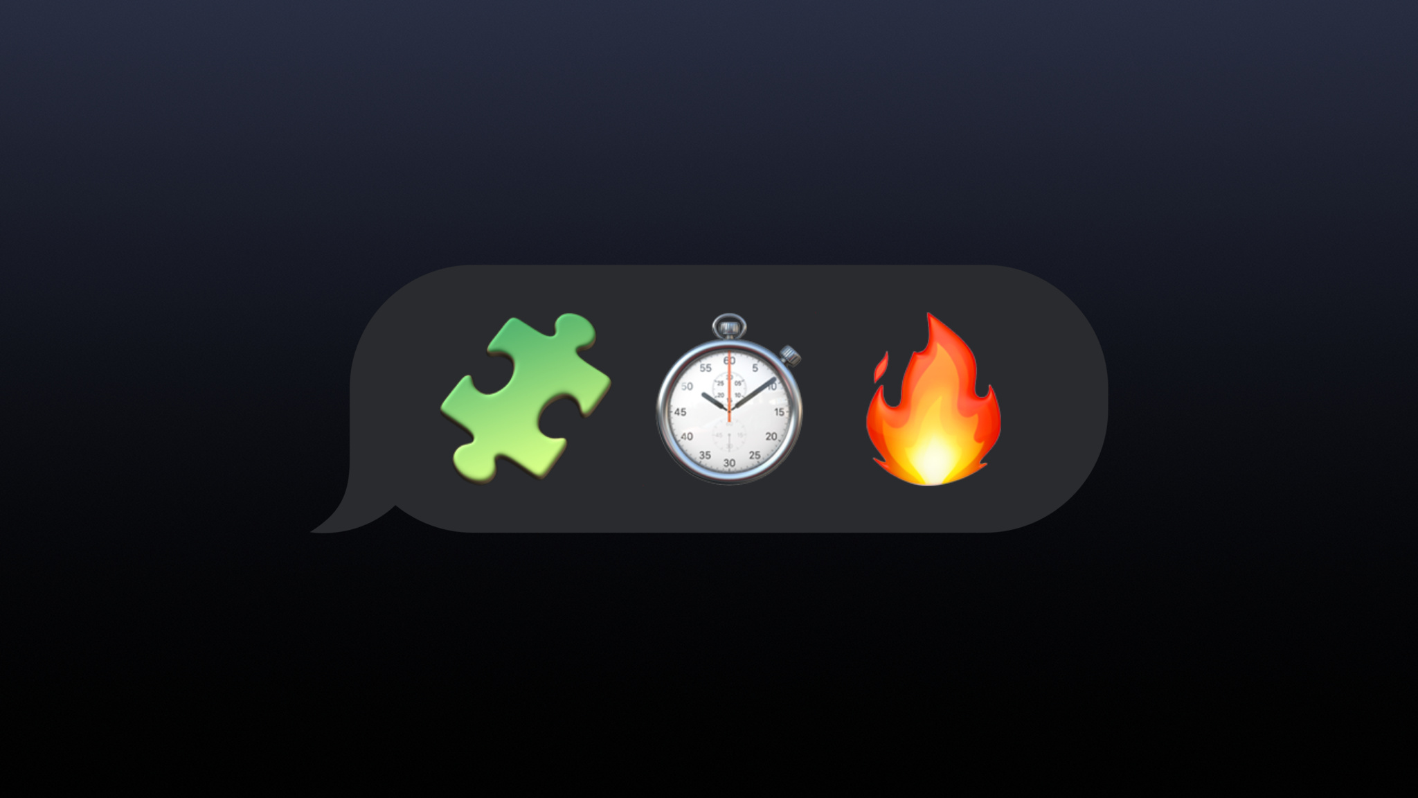 A text bubble with three Emojis; puzzle piece, stopwatch, and fire.