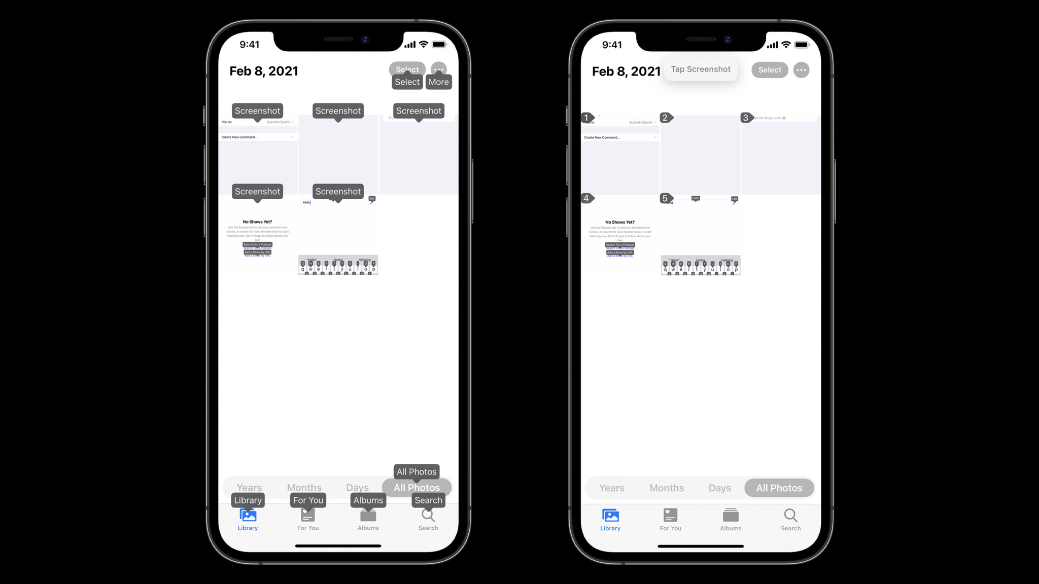 Two screenshots with voice control labels, showing Voice Control's disambiguation feature