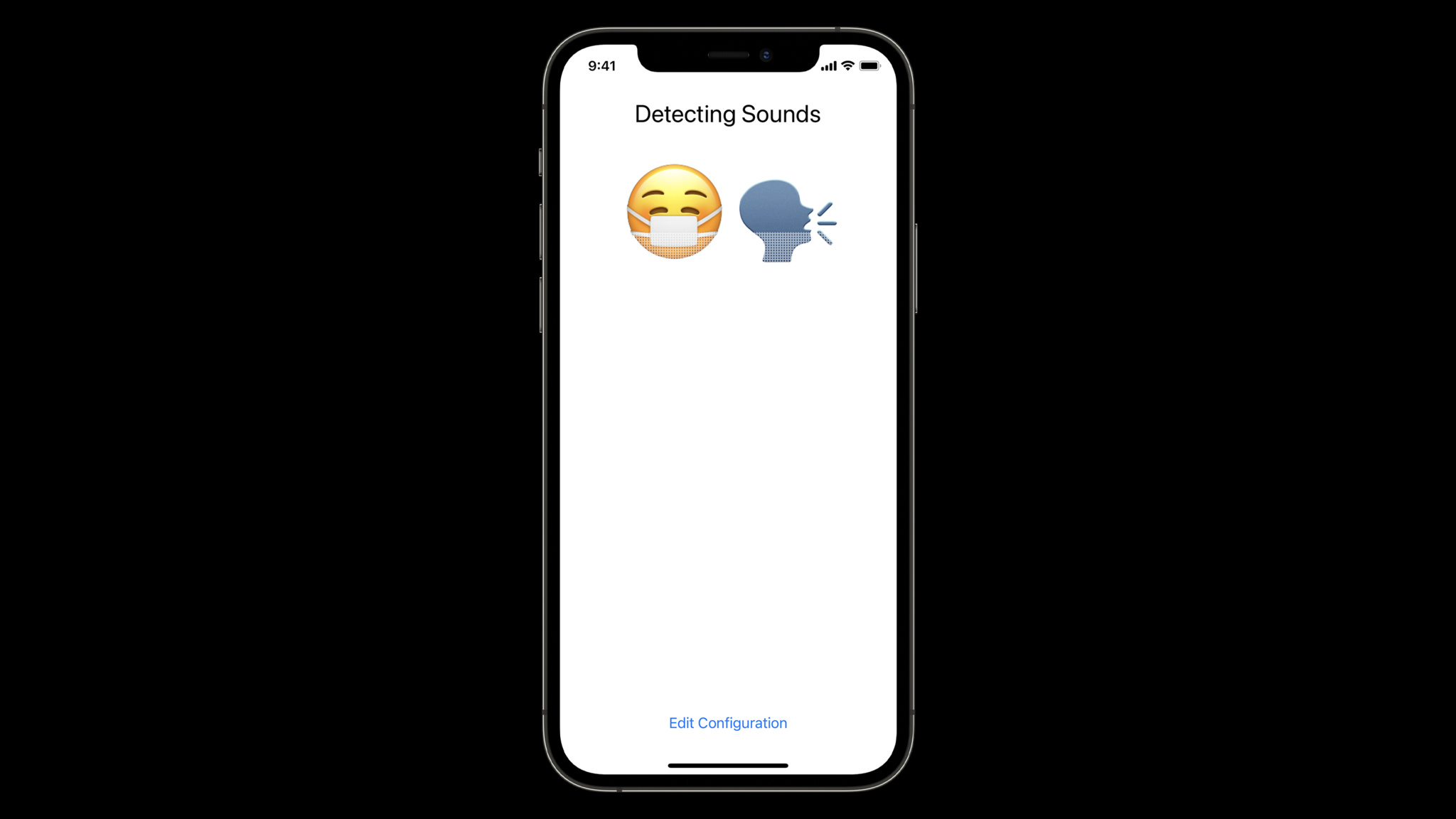 """Developer Laurence Moroney built an app for the """"Build an app using built-in Sound Classification"""" challenge that takes the built-in sound classes and renders them as emoji."""