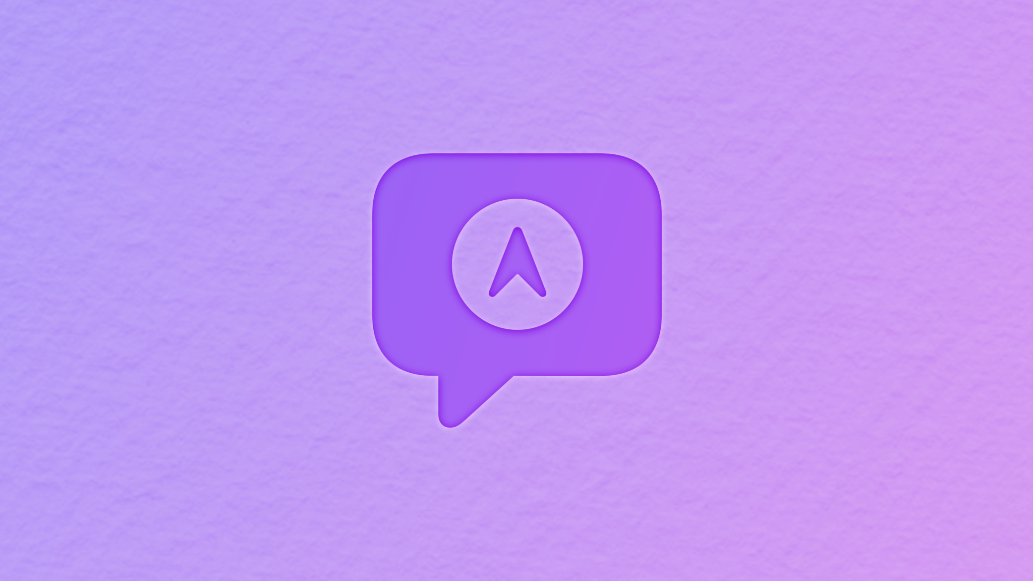 Speak bubble symbol with a pointing arrow location symbol inside
