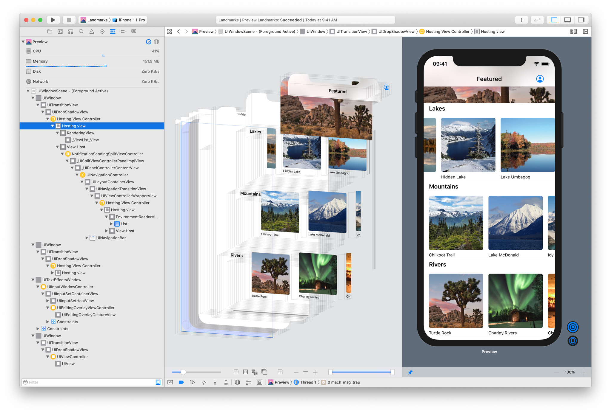 The Debug Preview mode in Xcode provides easy access to an assortment of debugging tools for your app, including a visual breakdown of your app's elements.