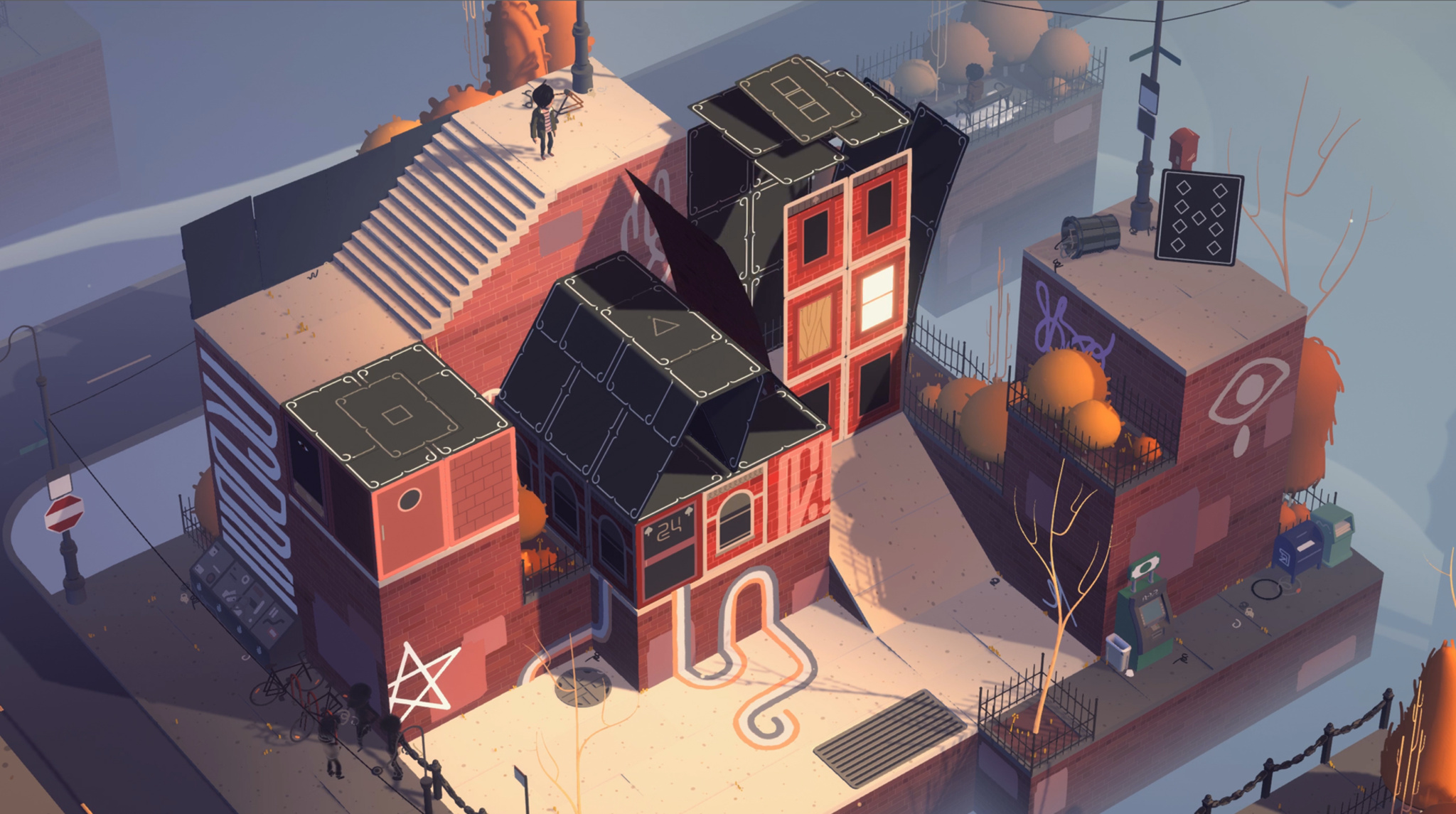 Screenshot of downtown card houses in Where Cards Fall