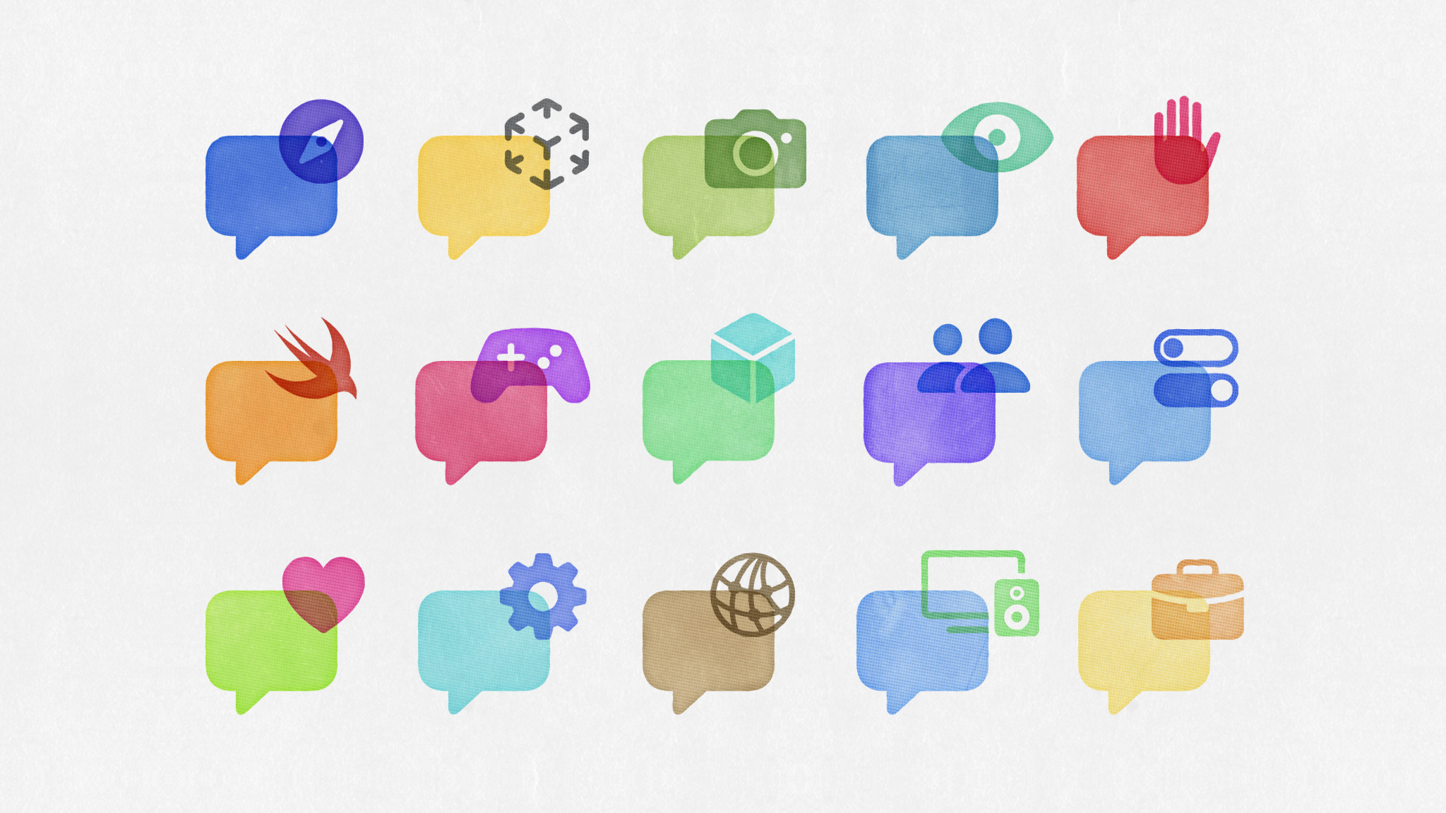 Three rows of colorful icons representing technology topics placed over speech bubbles