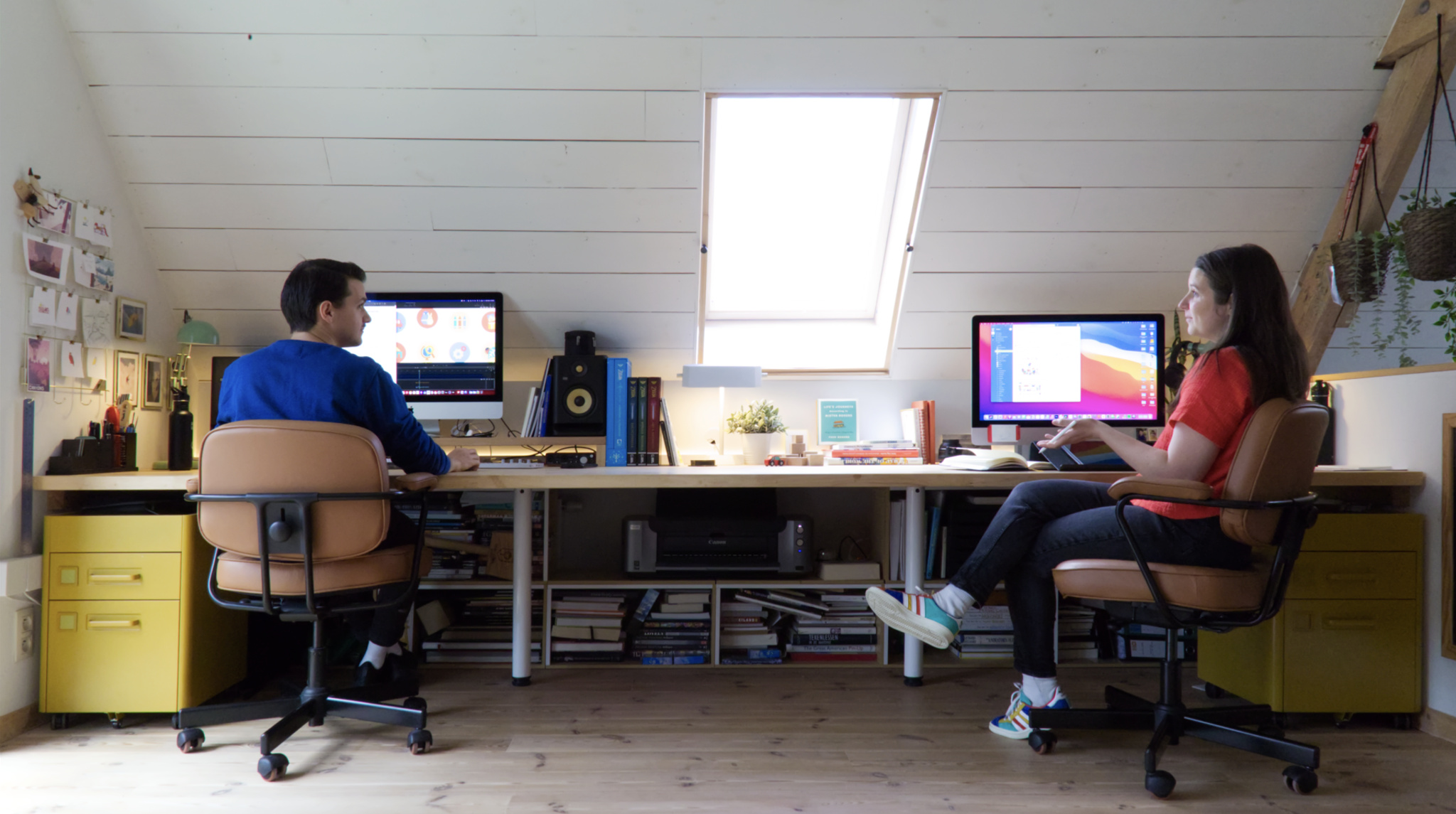 The Pok Pok Playroom couple in their home office