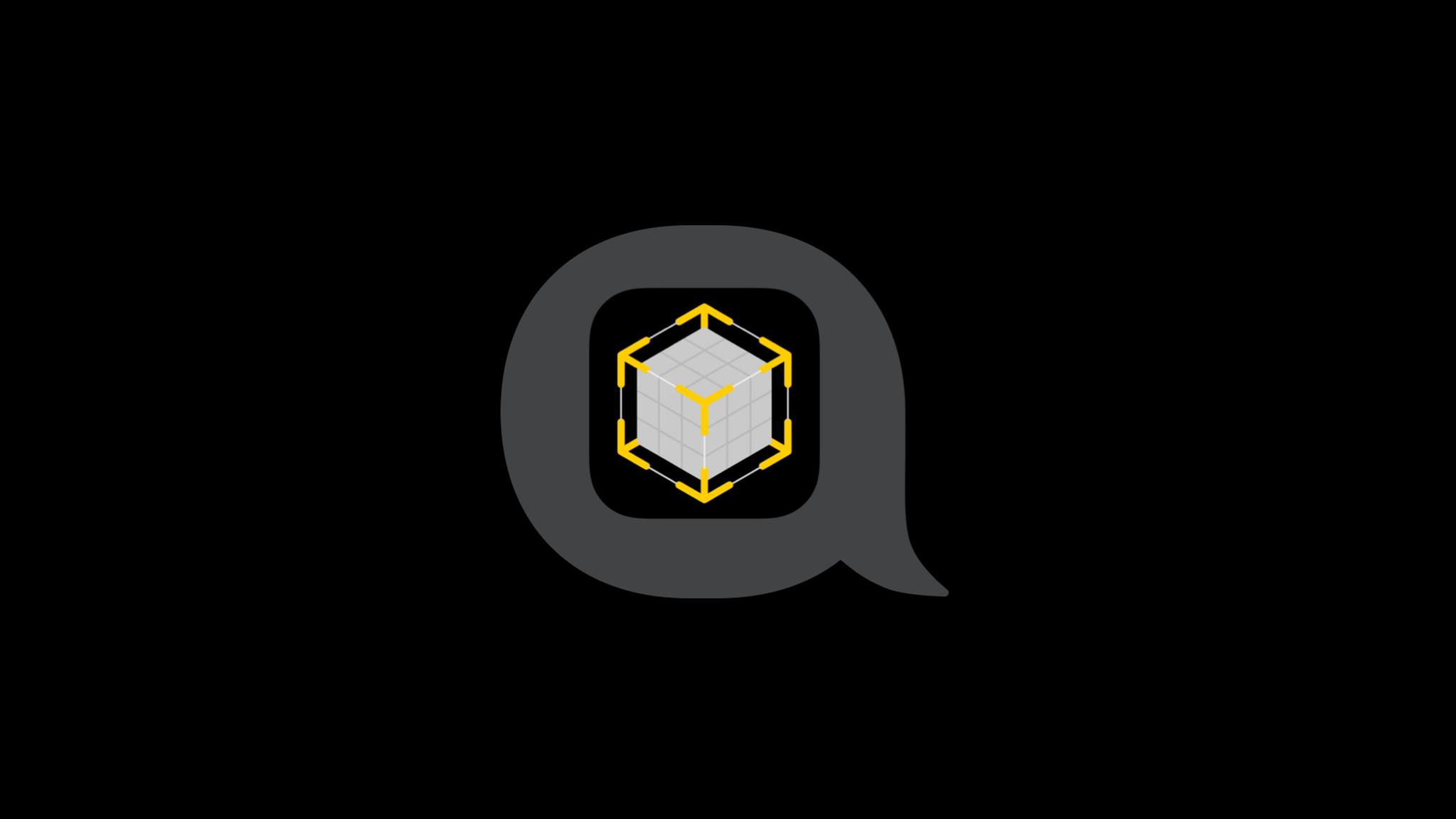 AR icon with a blank cube inside of it,  inside of a speech bubble.