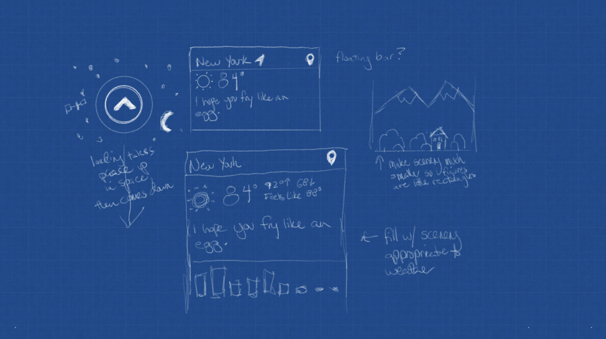 Early sketches of Carrot Weather's ocular sensor and weather readouts