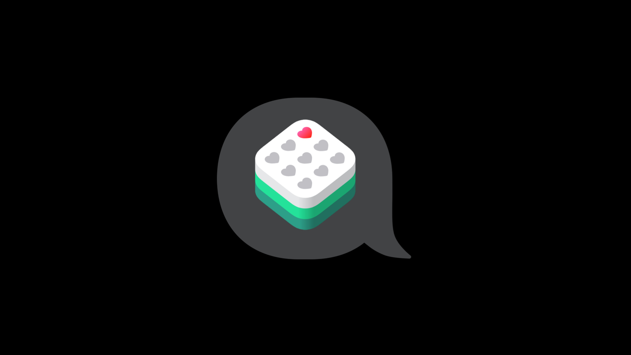 app icon displaying 8 gray hearts and 1 red heart,  inside of a speech bubble.