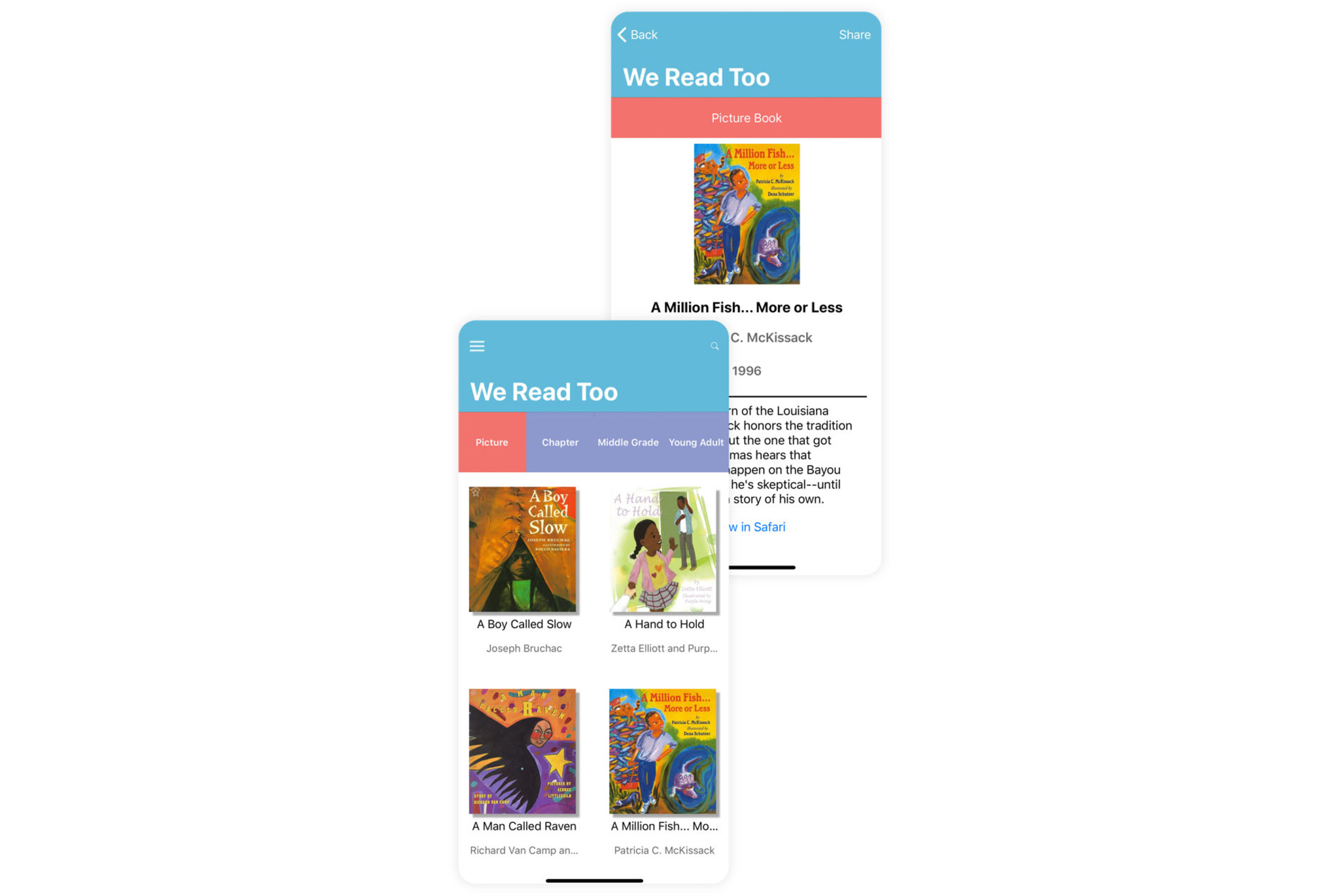 We Read Too has become one of the most comprehensive catalogs of children's books by writers of color, featuring characters of color.
