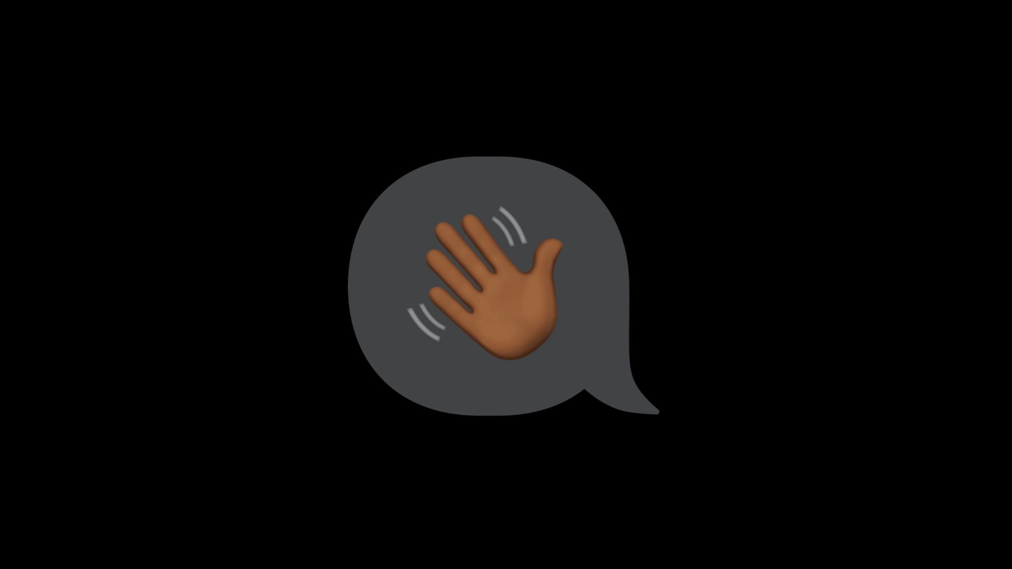 A waving hand emoji inside of a speech bubble