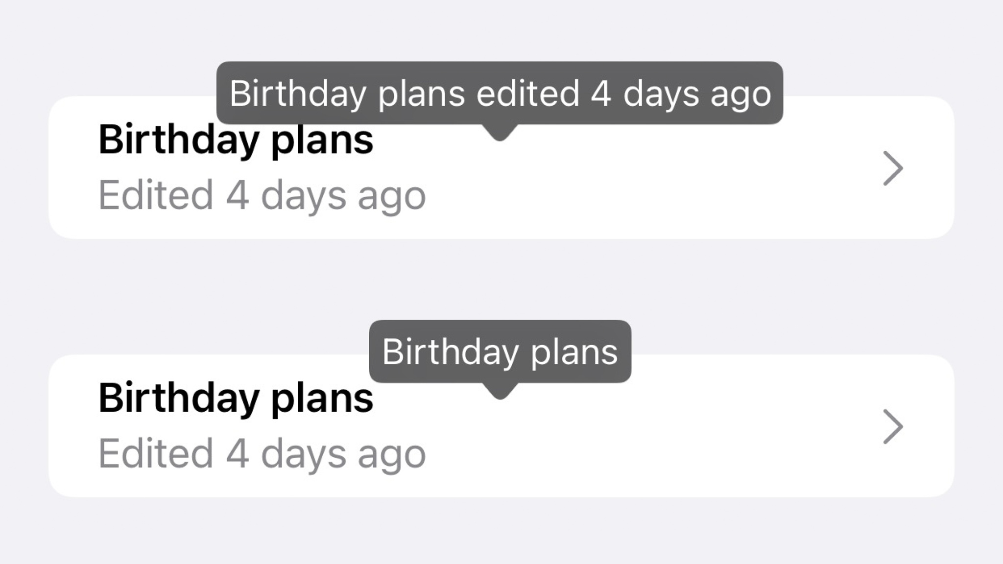 """two views with voice control labels shown, comparing """"birthday plans edited 4 days ago"""" versus """"birthday plans"""""""