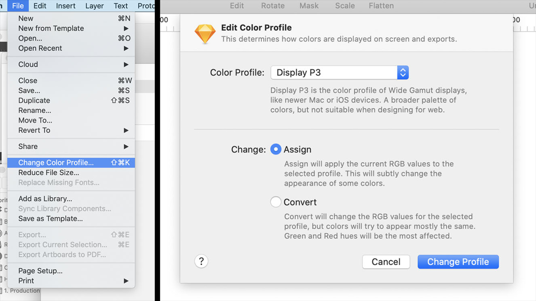 Use Sketch's Color Profile settings to use Display P3 on your canvas.