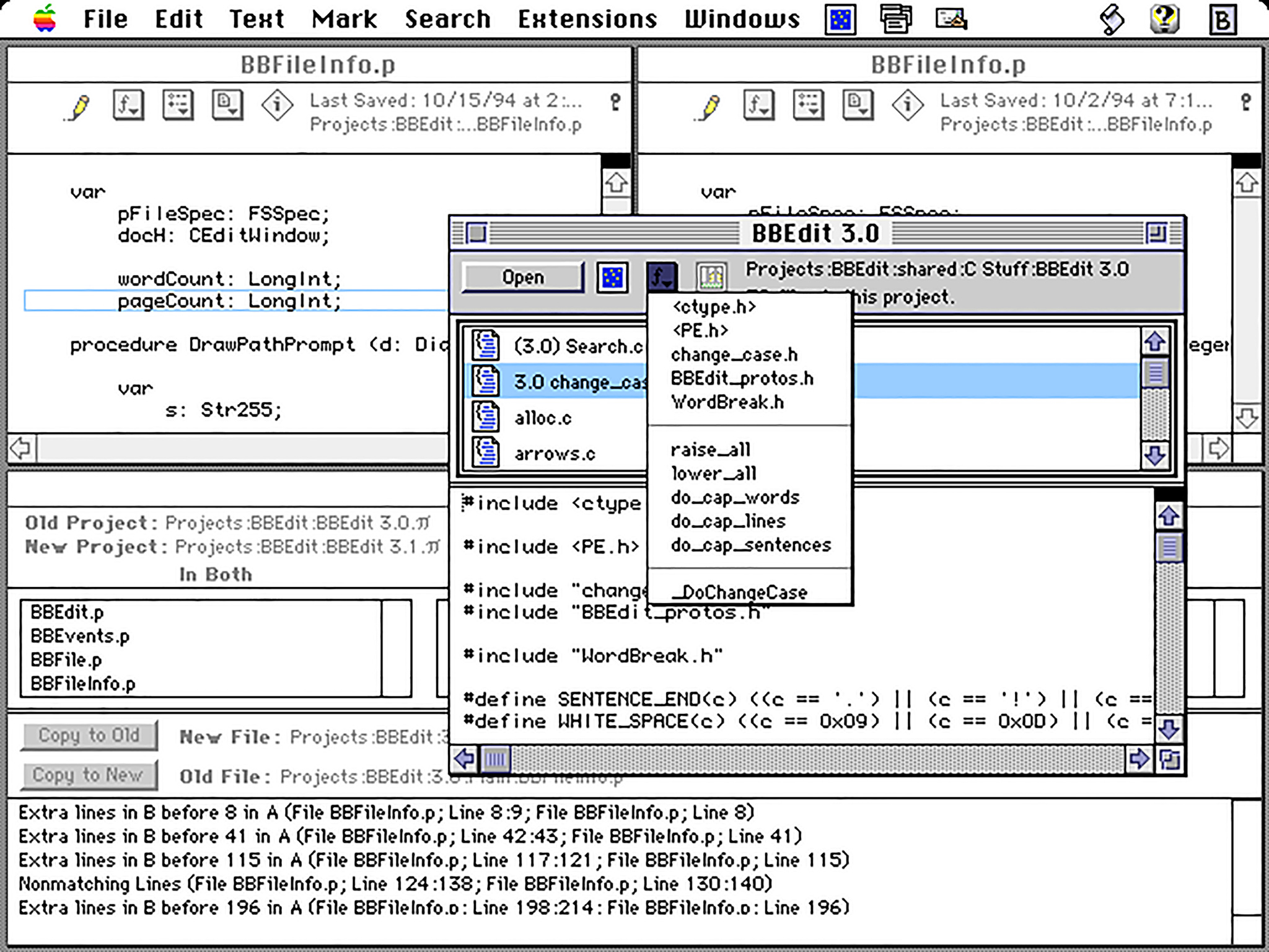 """Version 3.0 of BBEdit, """"accelerated for Power Macintosh,"""" from 1994."""