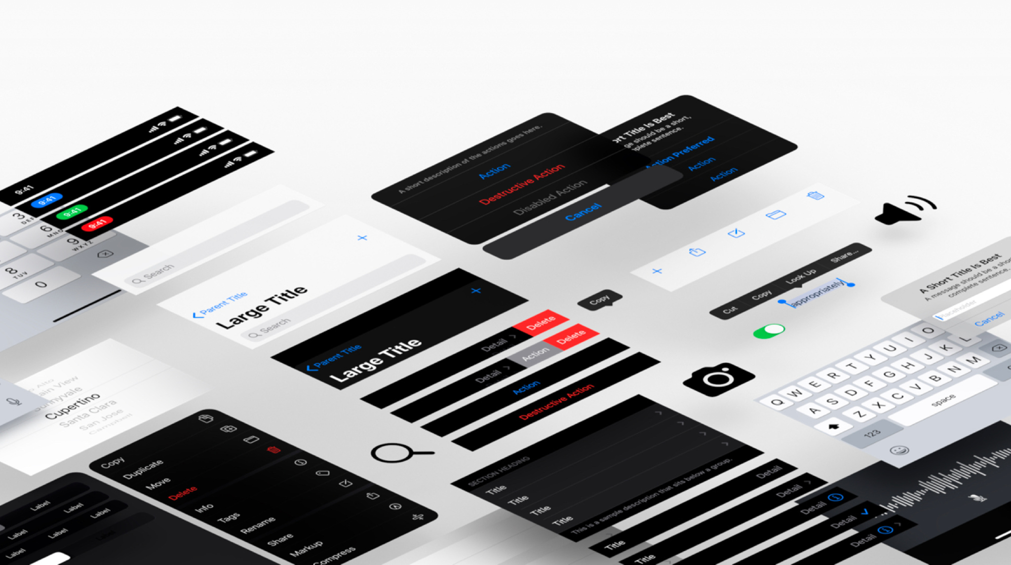 The Apple Design Resources contain templates and libraries that are filled with ready-to-use iOS elements including toolbars, tab bars, buttons, and more.