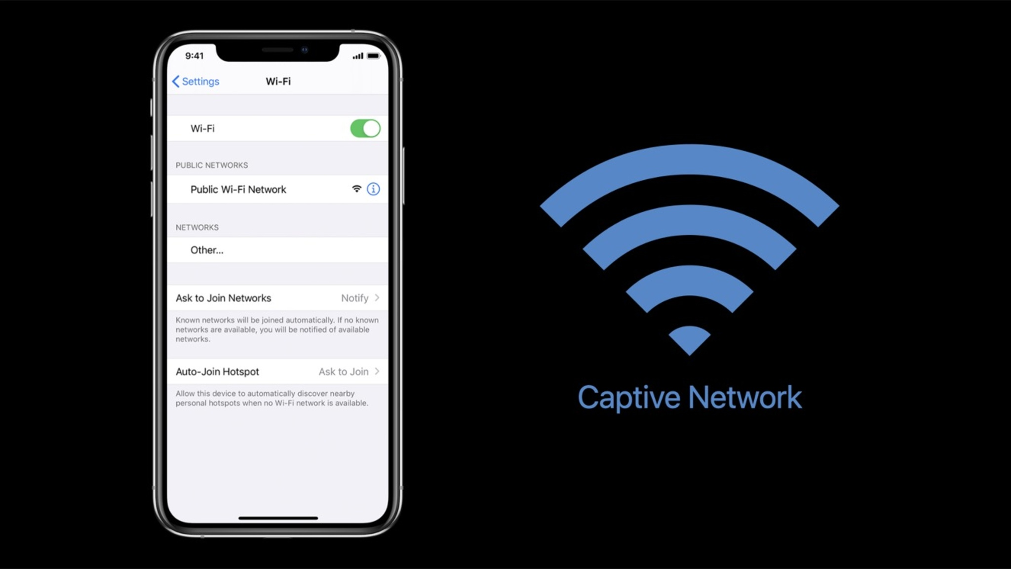 IPhone displaying wifi information on screen with the words Captive Network and wifi symbol to the right