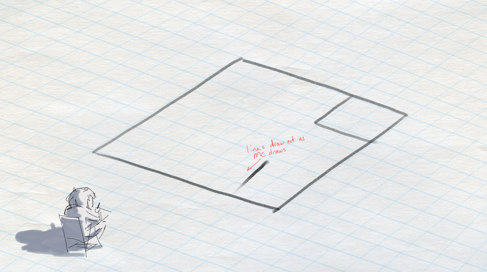 Early sketch of Where Cards Fall showing protagonist drawing a world into existence on graph paper