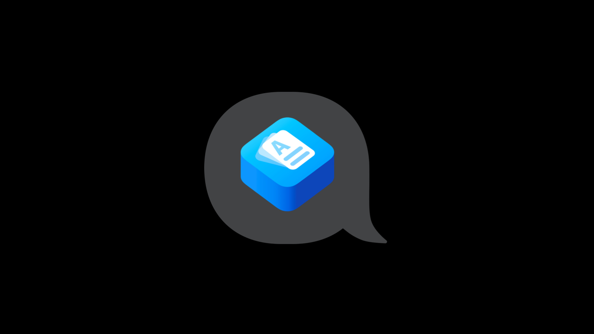 App icon displaying a document,  inside of a speech bubble.