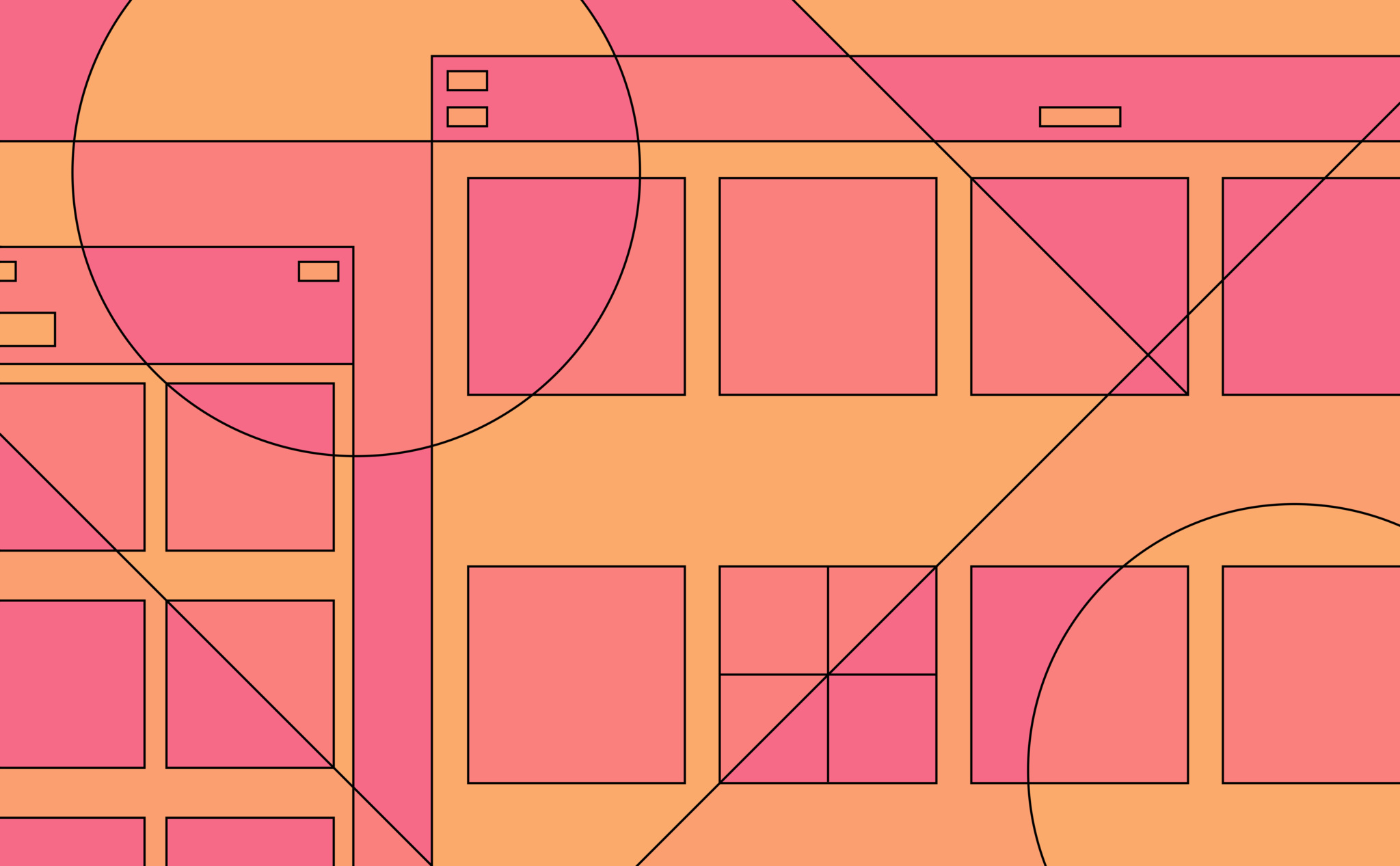 Orange and pink illustration of abstracted finder windows