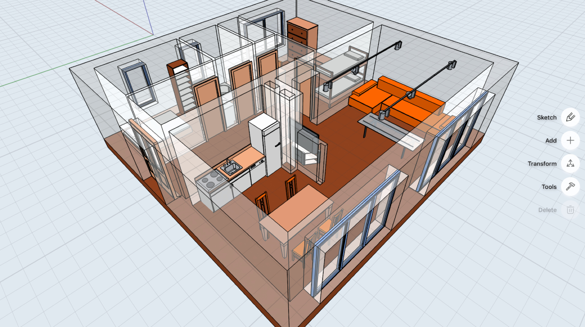 Shapr 3D canvas featuring a one bedroom apartment