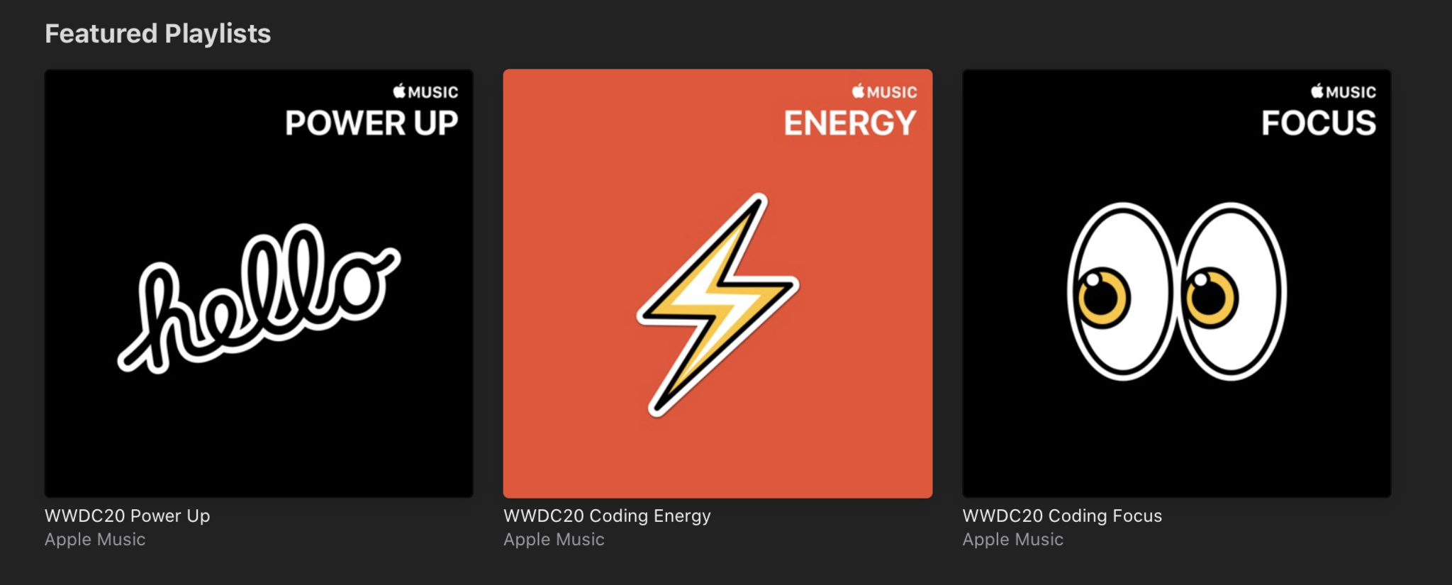 WWDC20 collection screenshot inside Apple Music