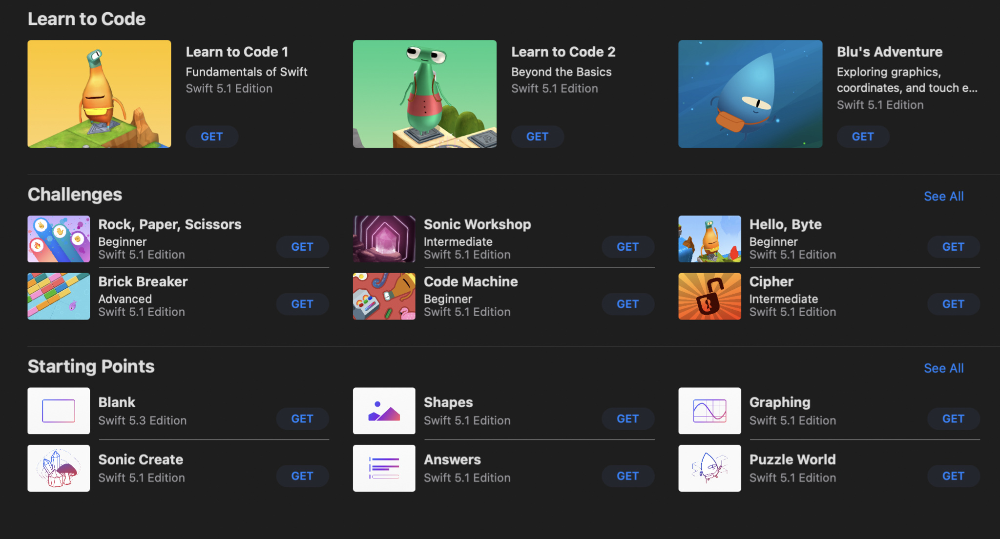 Swift Playgrounds app showing downloadable books and challenges