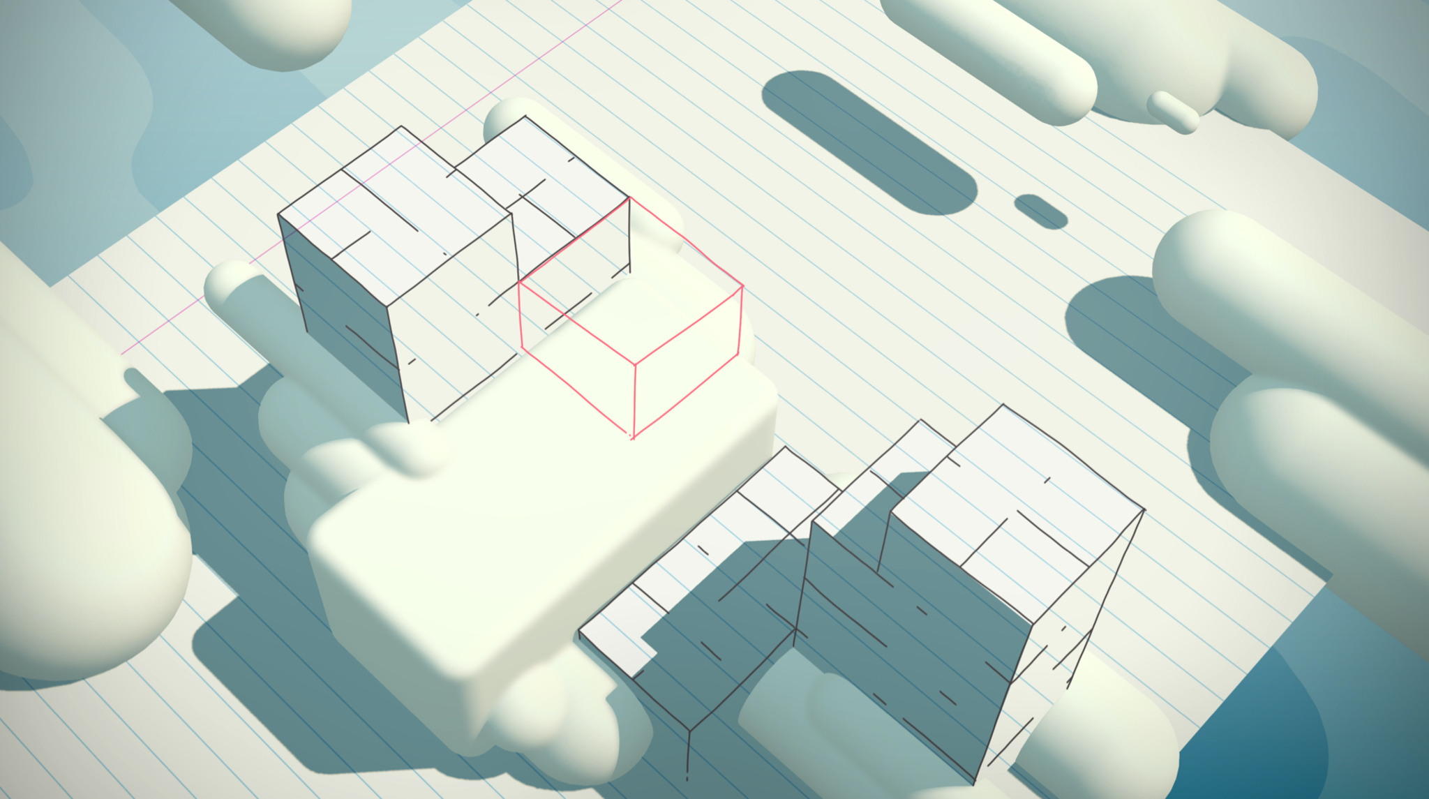 Early sketch of where cards fall showing card items in 3D environment